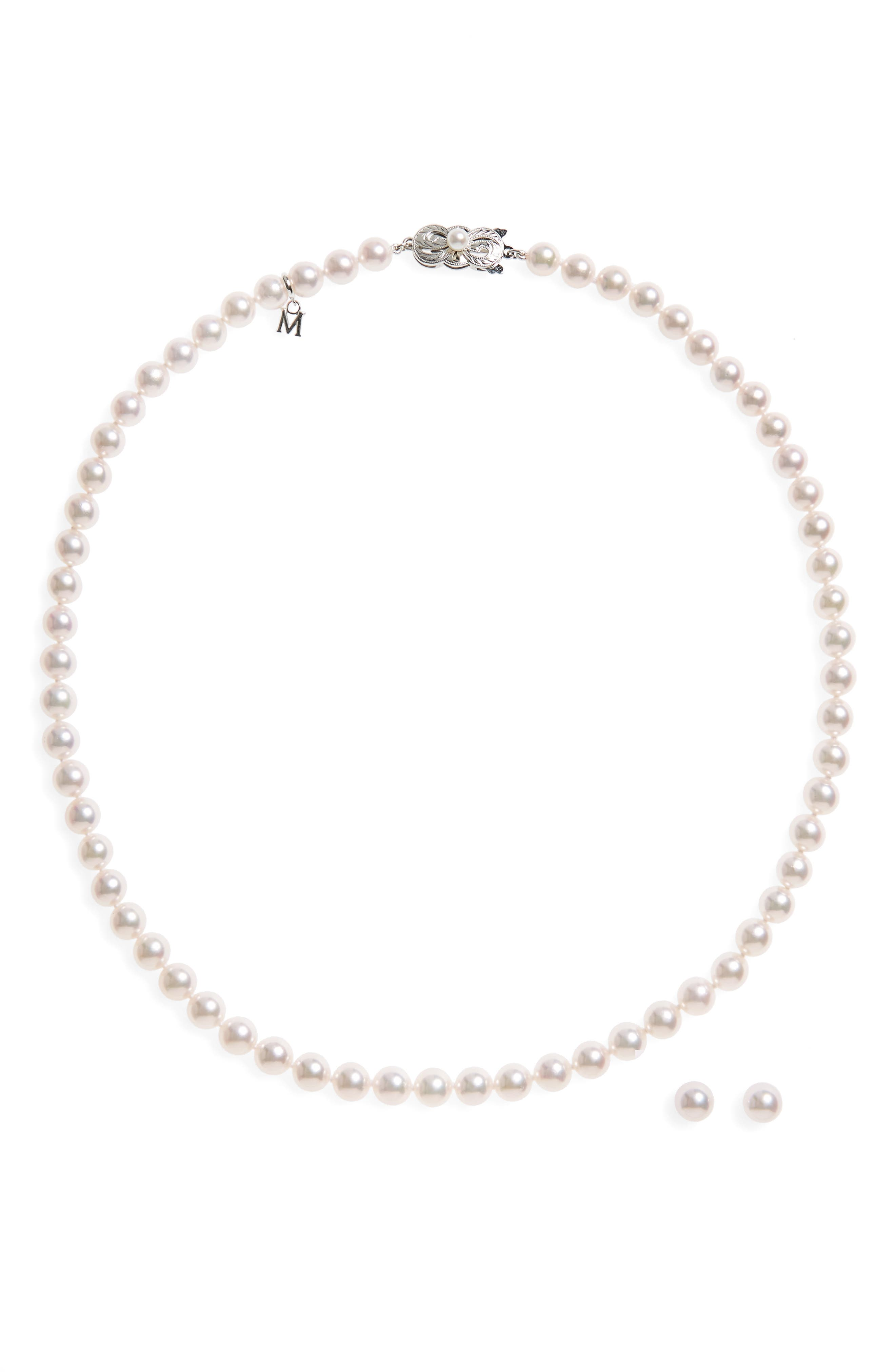 Cultured Pearl Necklace & Stud Earring Set,                             Alternate thumbnail 3, color,                             White Gold