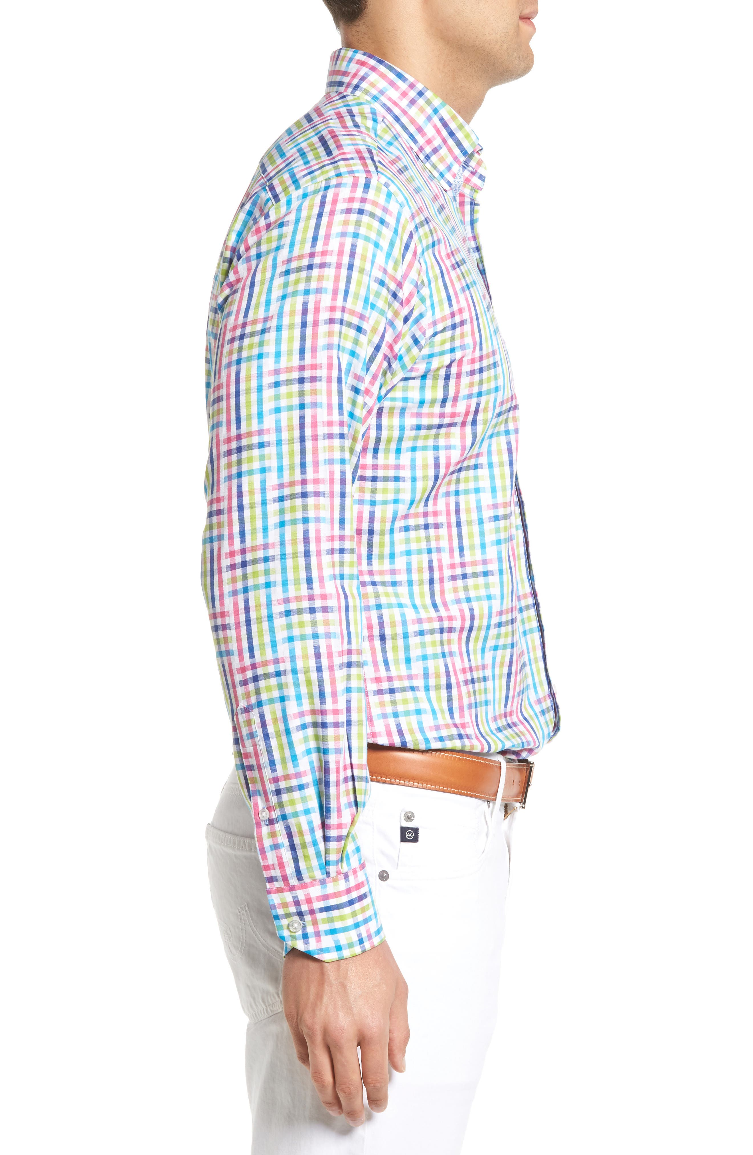 Cliffrose Regular Fit Buffalo Check Sport Shirt,                             Alternate thumbnail 3, color,                             Pink