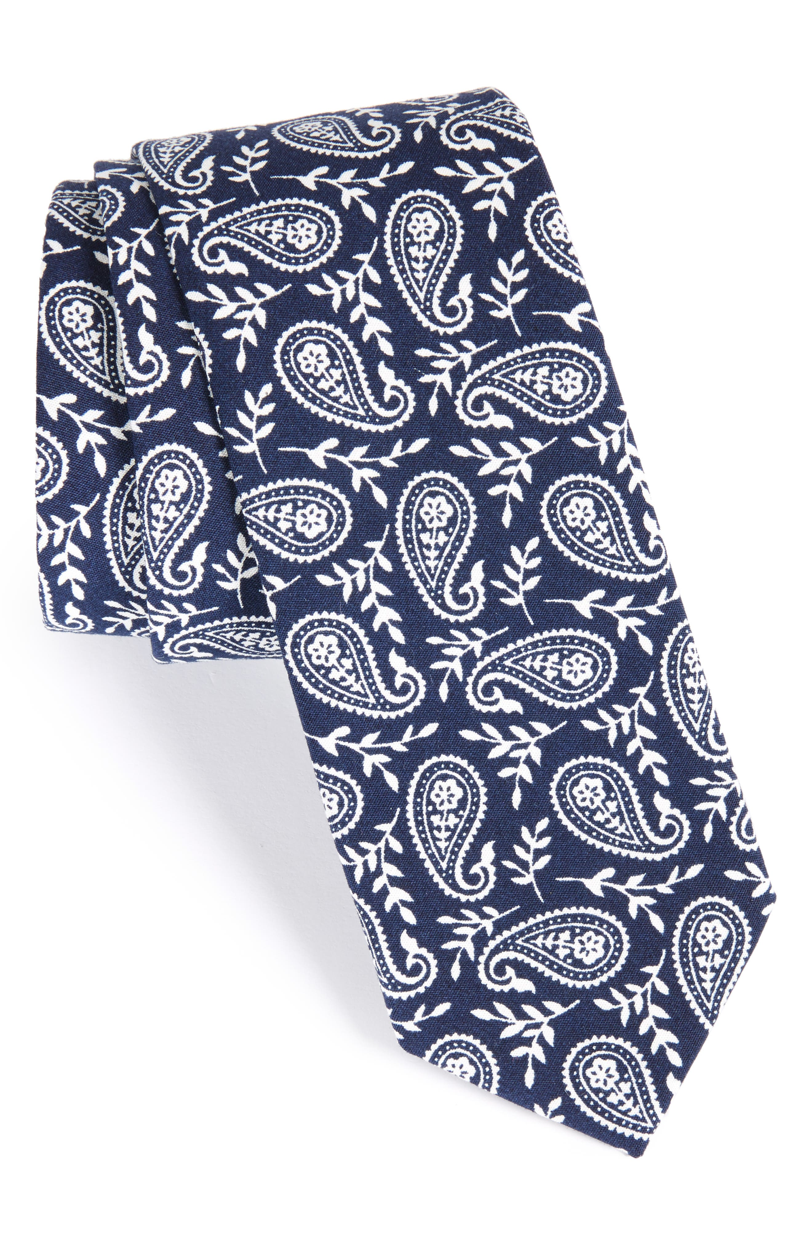 Paisley Cotton Skinny Tie,                         Main,                         color, Navy