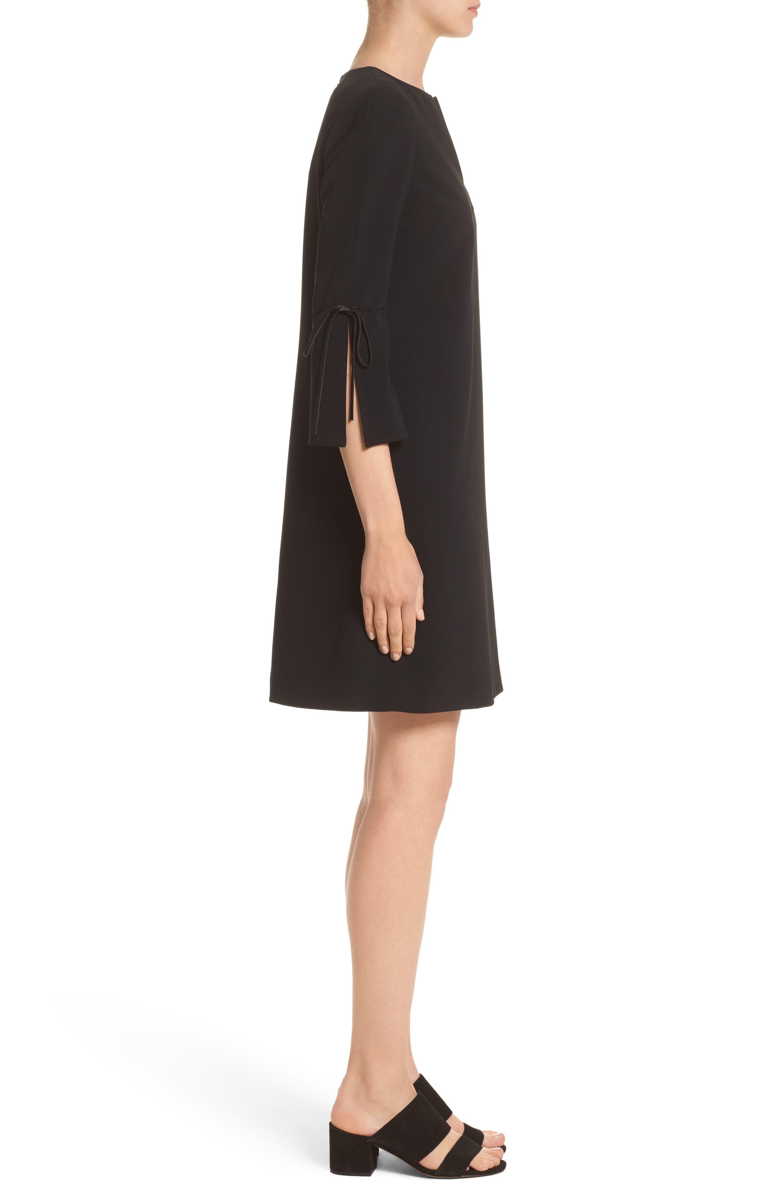 Deandra Tie Sleeve Shift Dress,                             Alternate thumbnail 6, color,                             Black