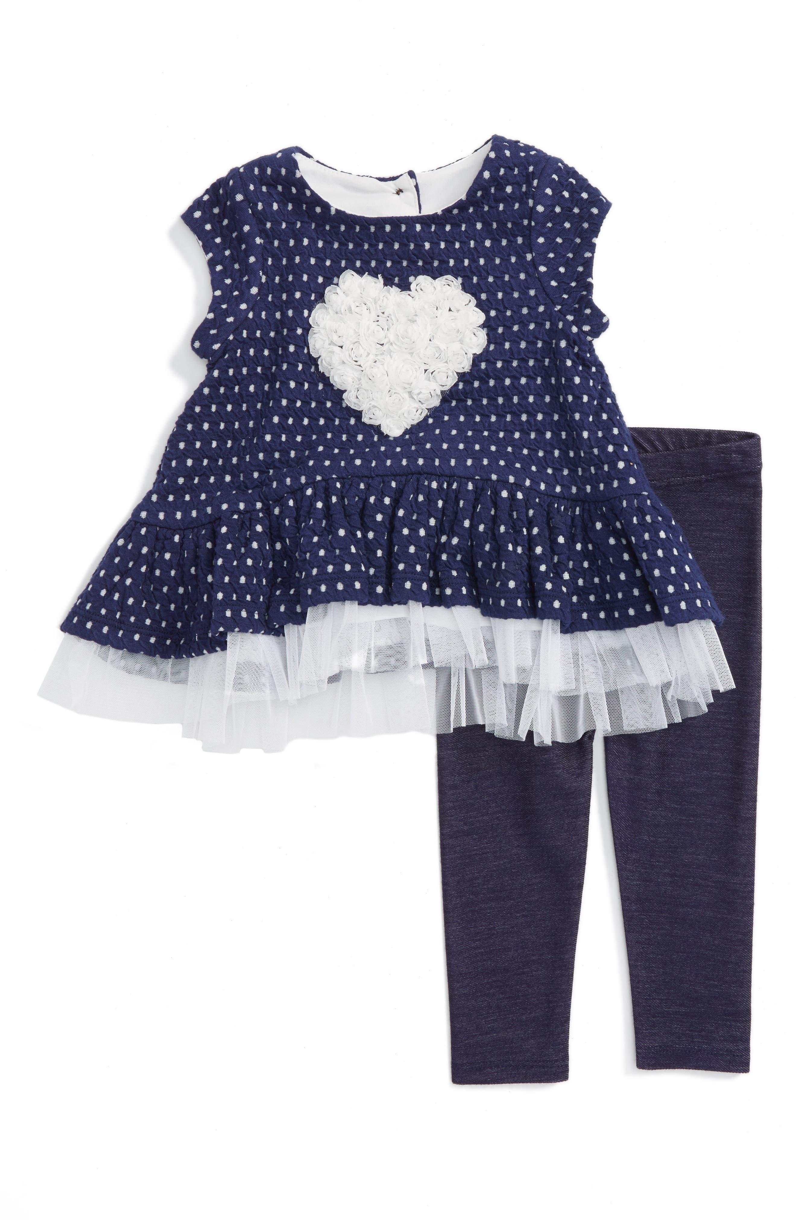 Pippa & Julie Heart Tunic & Leggings (Toddler Girls & Little Girls)