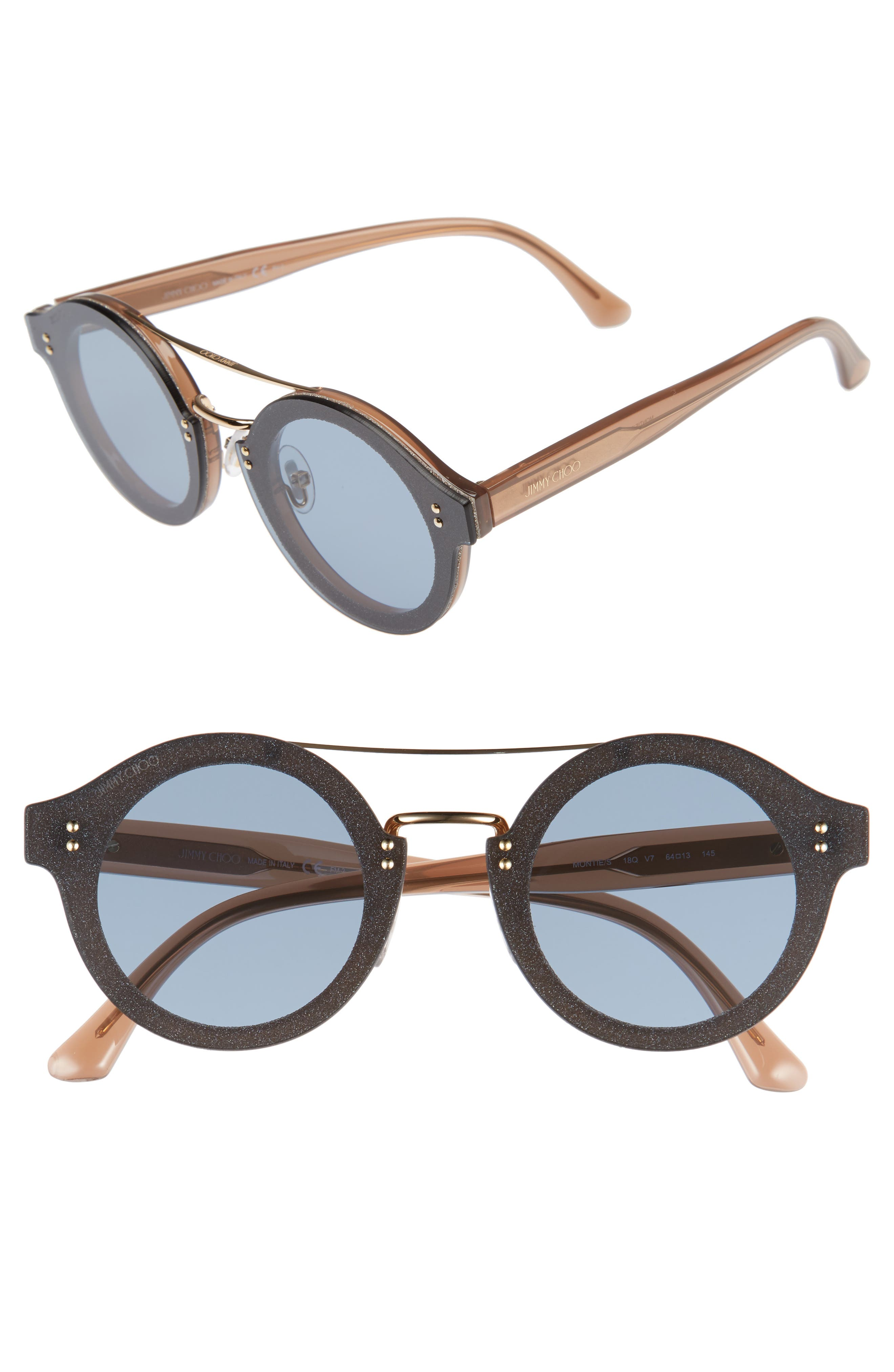 Monties 64mm Round Sunglasses,                             Main thumbnail 1, color,                             Nude/ Glitter/ Gold