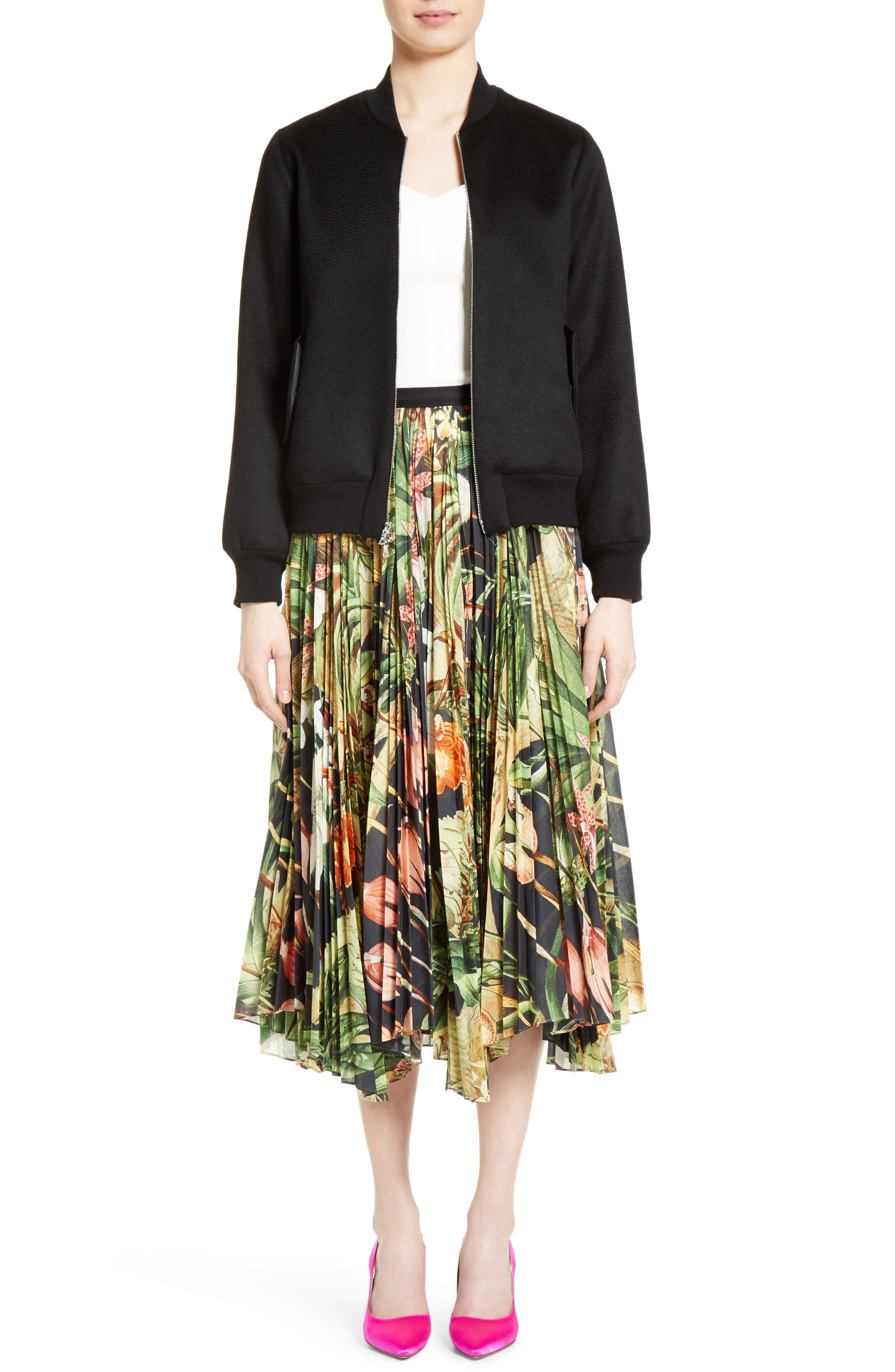 Print Cotton Voile Pleated Skirt,                             Alternate thumbnail 7, color,                             Black Orchid