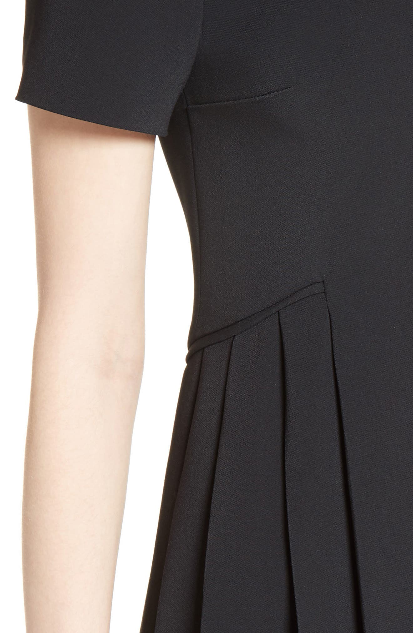 Pleated Fit & Flare Minidress,                             Alternate thumbnail 6, color,                             Black