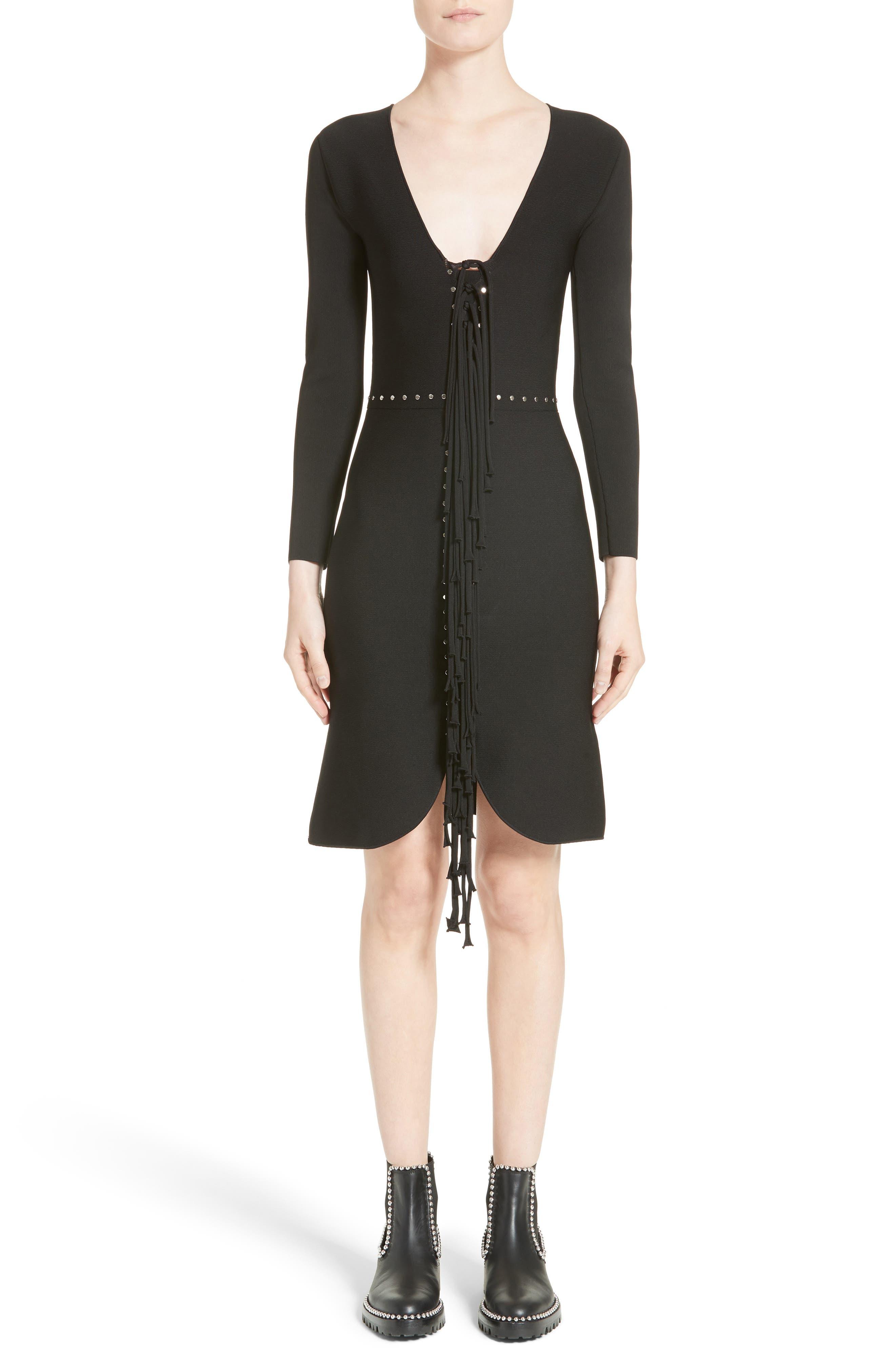 Knotted Fringe Knit Dress,                         Main,                         color, Black