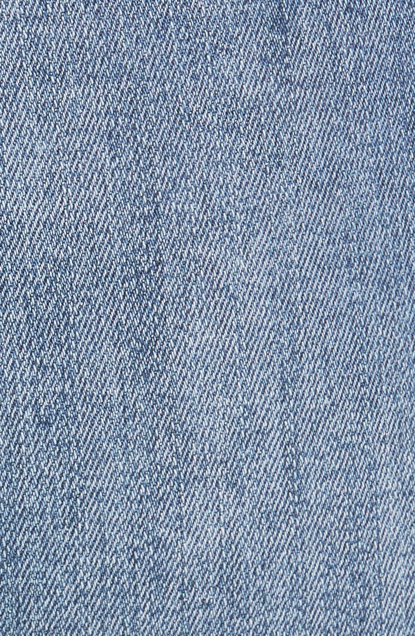High Rise Busted Knee Skinny Jeans,                             Alternate thumbnail 5, color,                             Light Denim