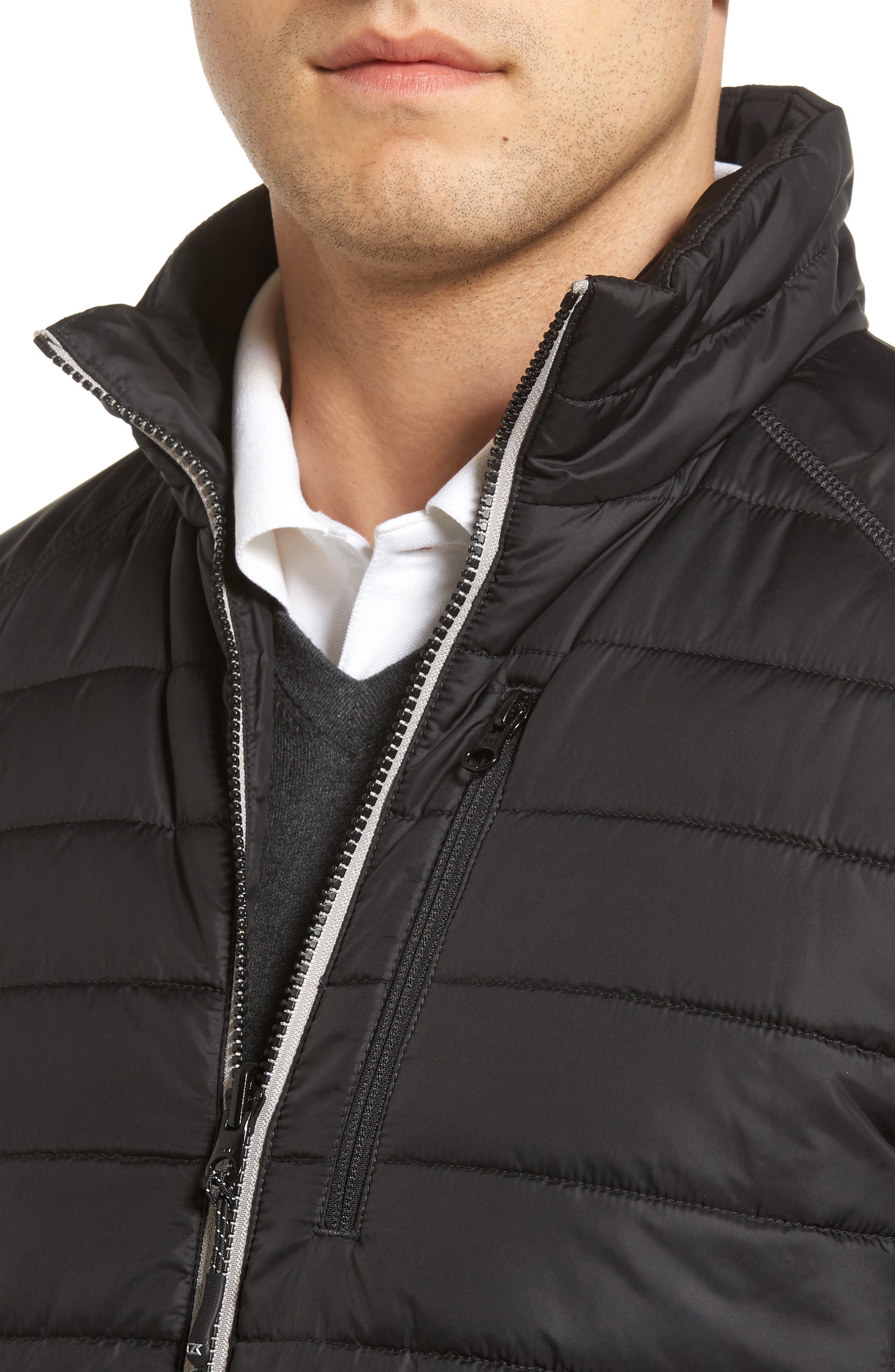 Barlow Pass Quilted Jacket,                             Alternate thumbnail 4, color,                             Black
