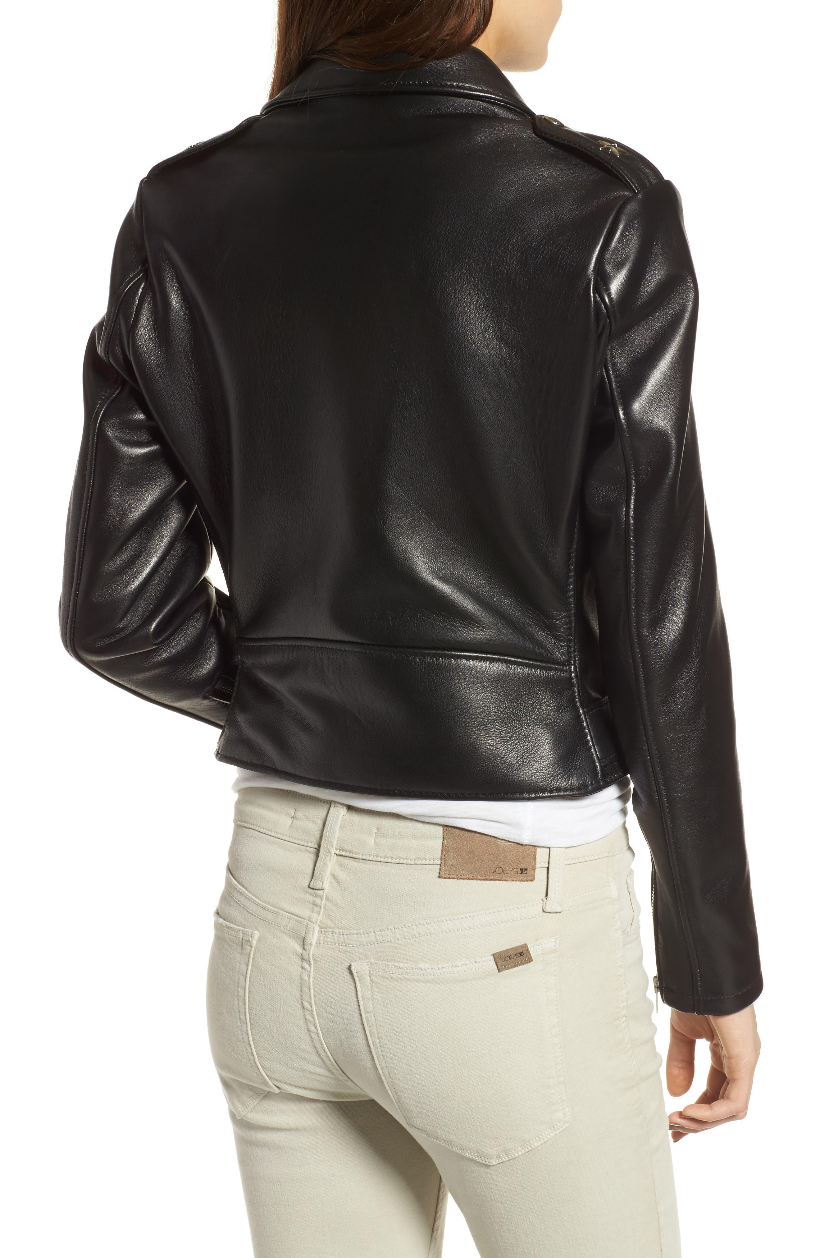 Perfecto Crop Leather Jacket,                             Alternate thumbnail 2, color,                             Black
