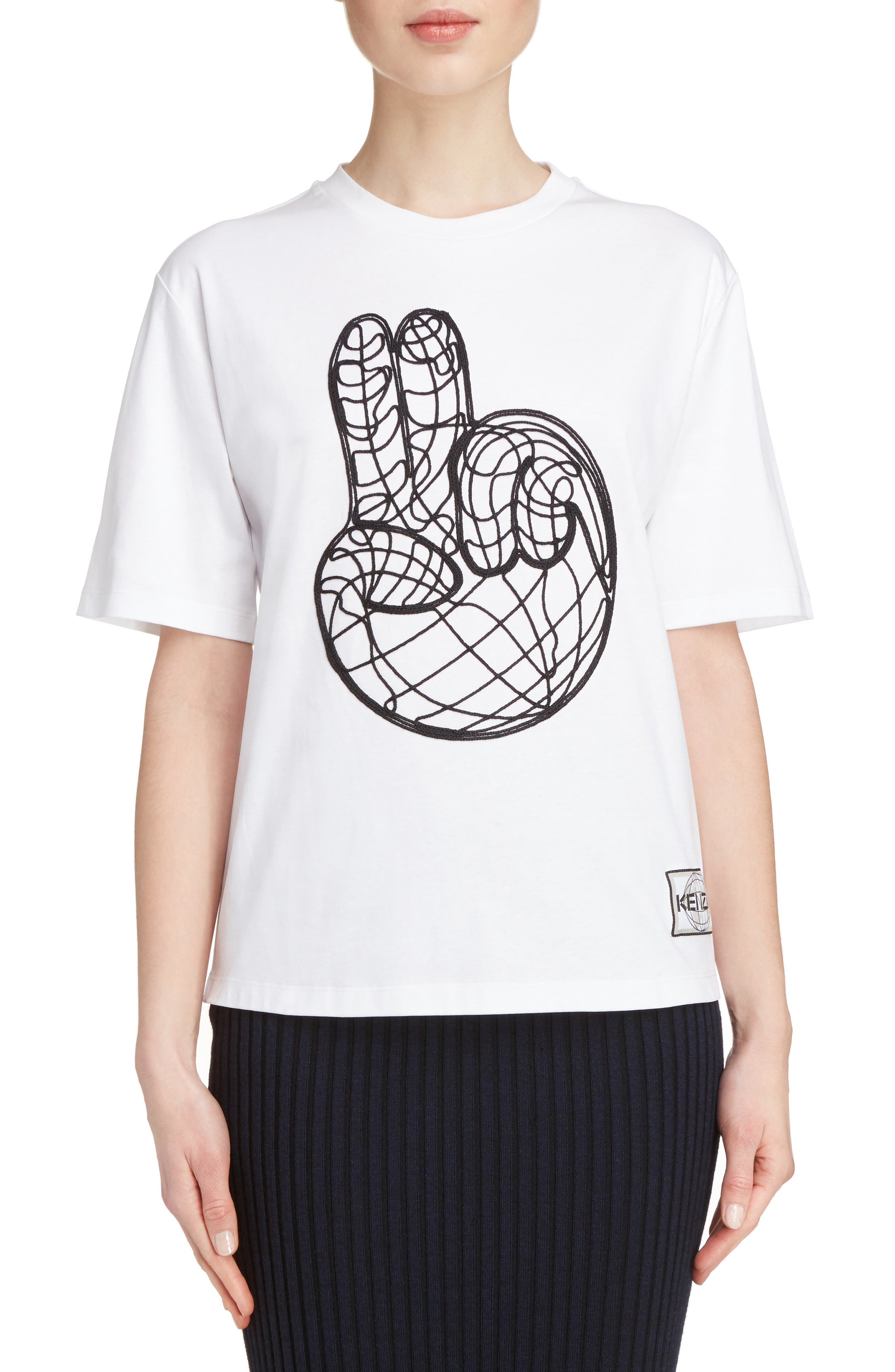 Peace World Embroidered Cotton Tee,                         Main,                         color, White