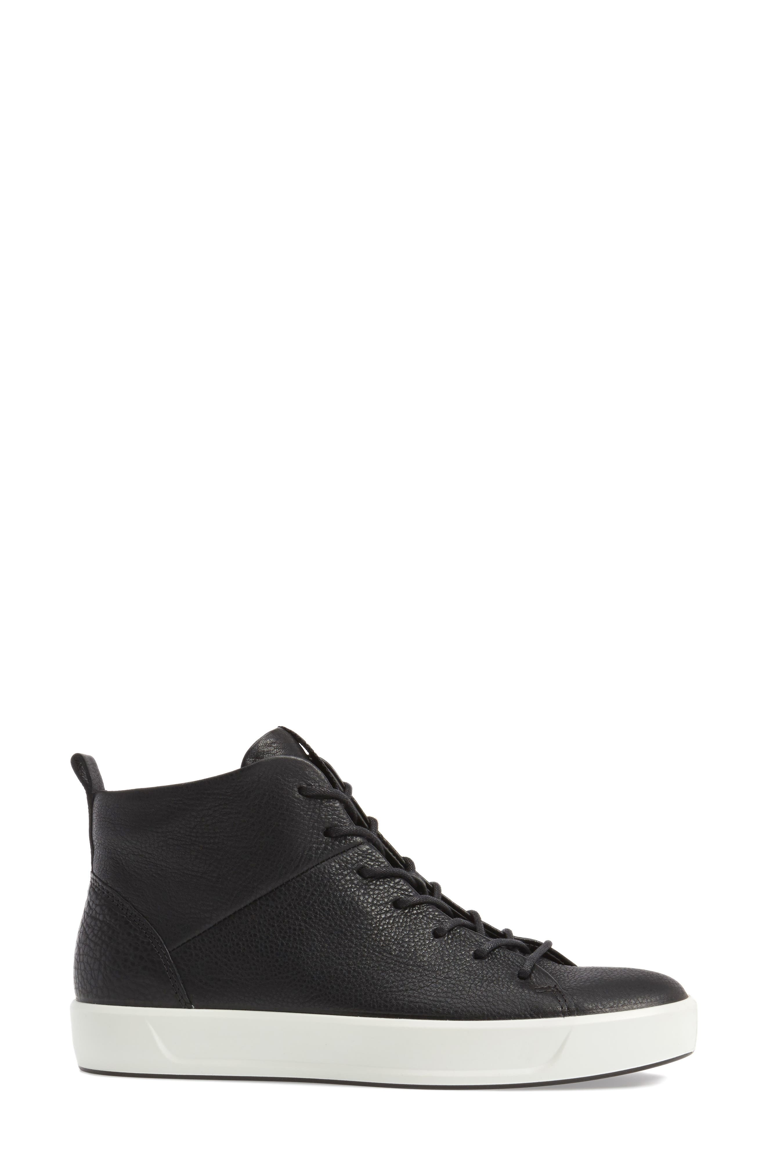 Soft 8 High Top Sneaker,                             Alternate thumbnail 3, color,                             Black Leather