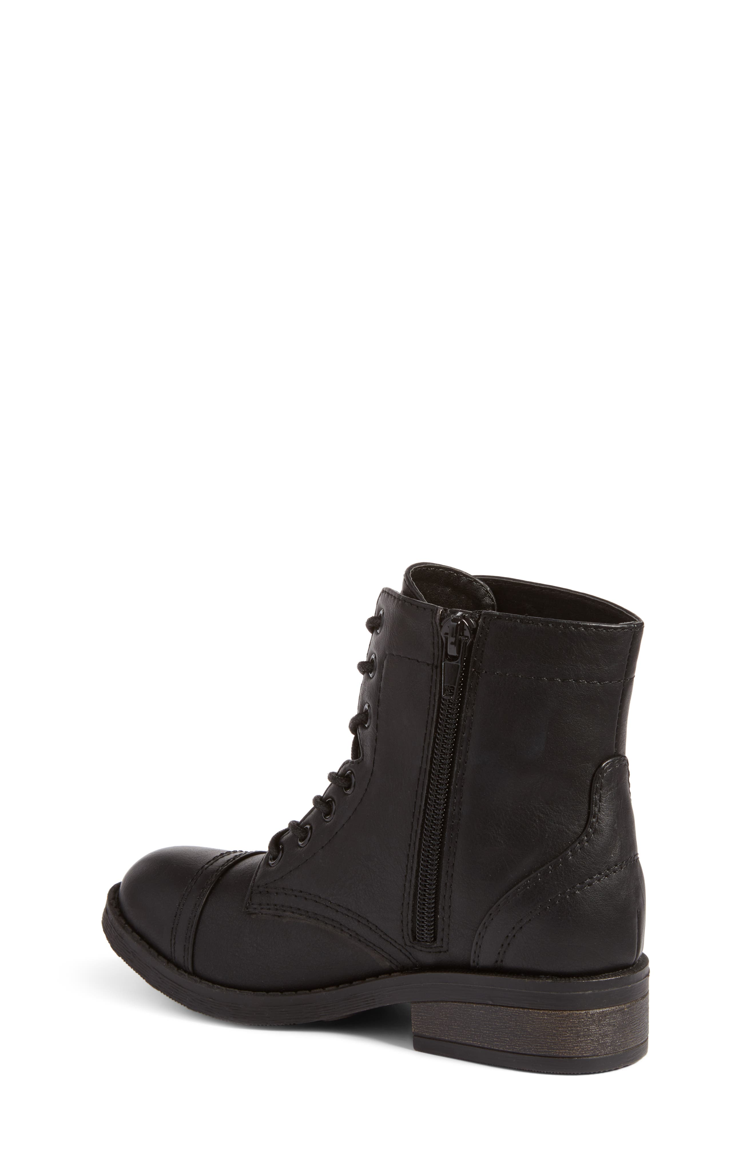 Roaring Embroidered Combat Boot,                             Alternate thumbnail 2, color,                             Black Faux Leather