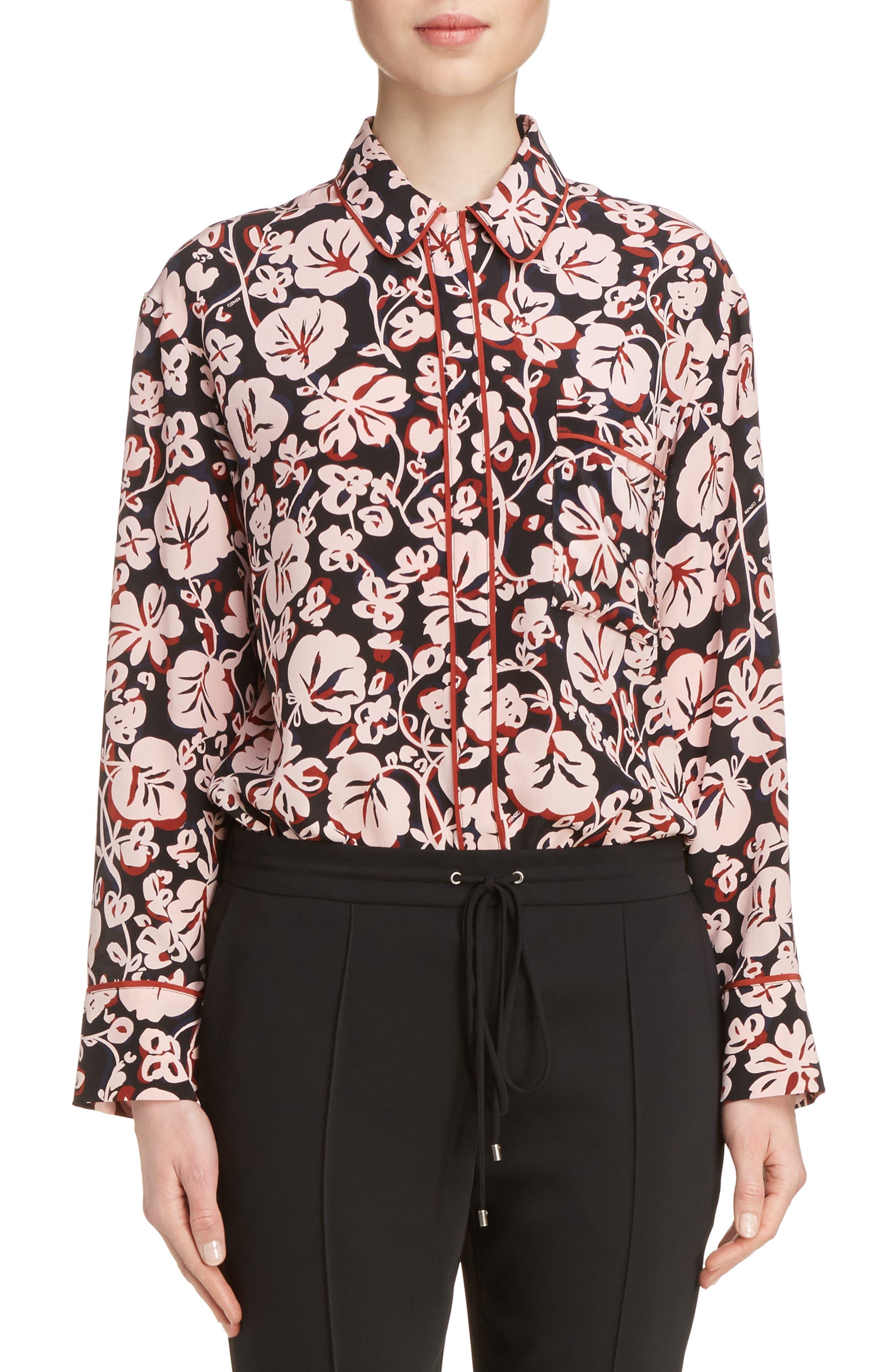 Alternate Image 1 Selected - KENZO Floral Print Silk Shirt