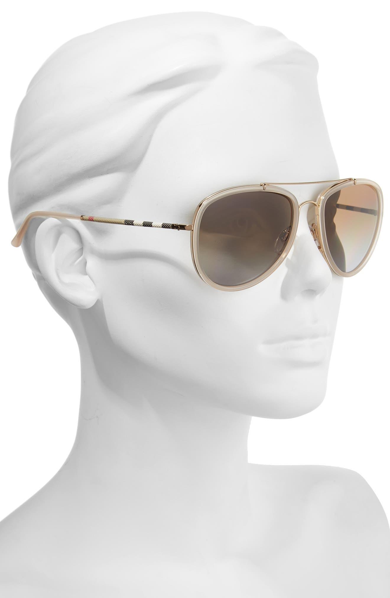 Alternate Image 2  - Burberry 58mm Check Temple Pilot Sunglasses