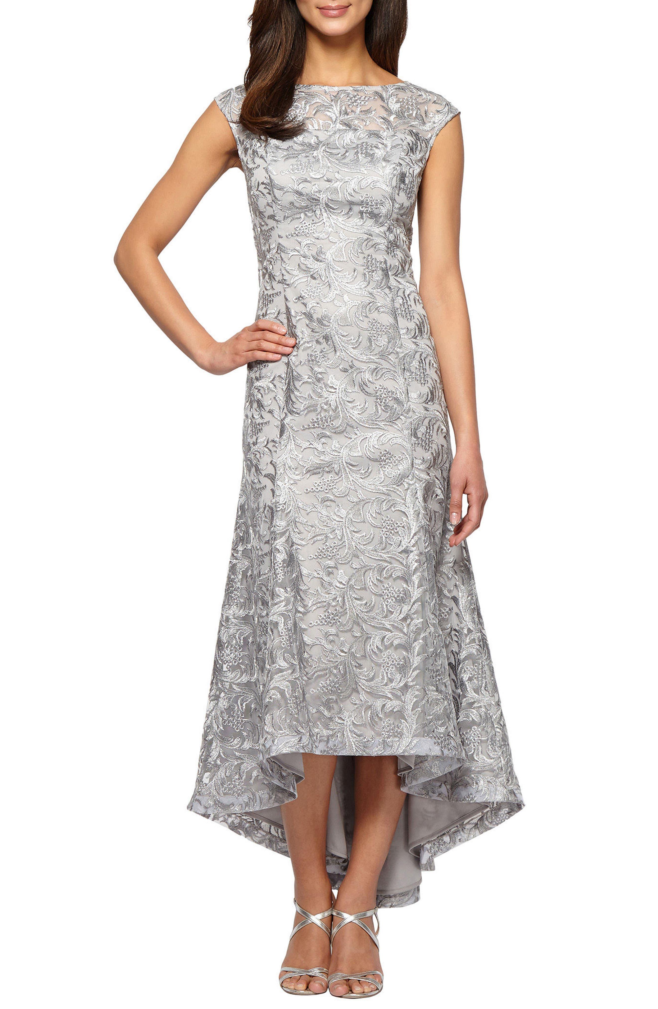 High/Low Lace Dress,                             Main thumbnail 1, color,                             Silver