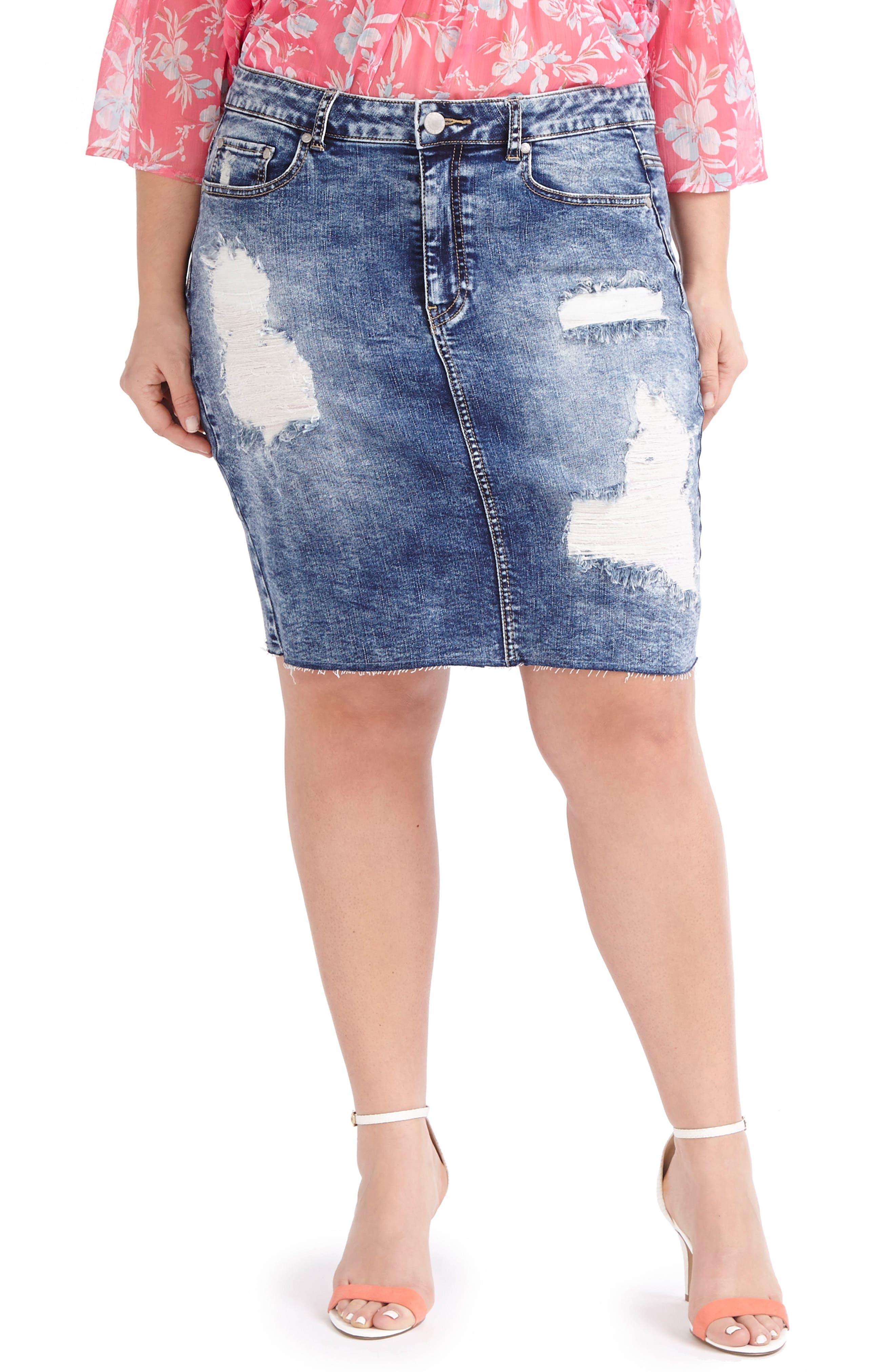 ADDITION ELLE LOVE AND LEGEND Ripped Denim Skirt (Plus Size)