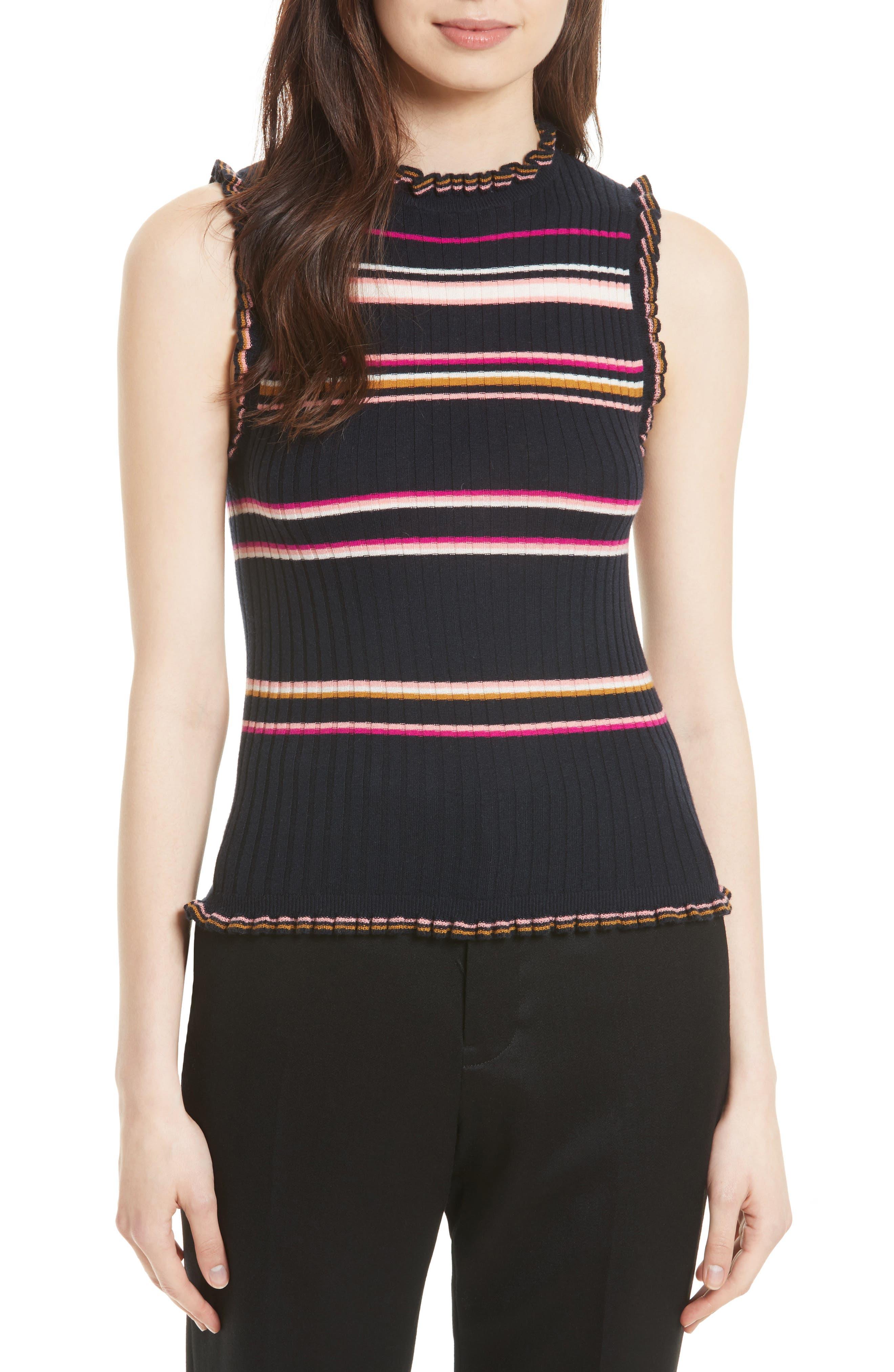 Rebecca Taylor Stripe Rib Knit Tank