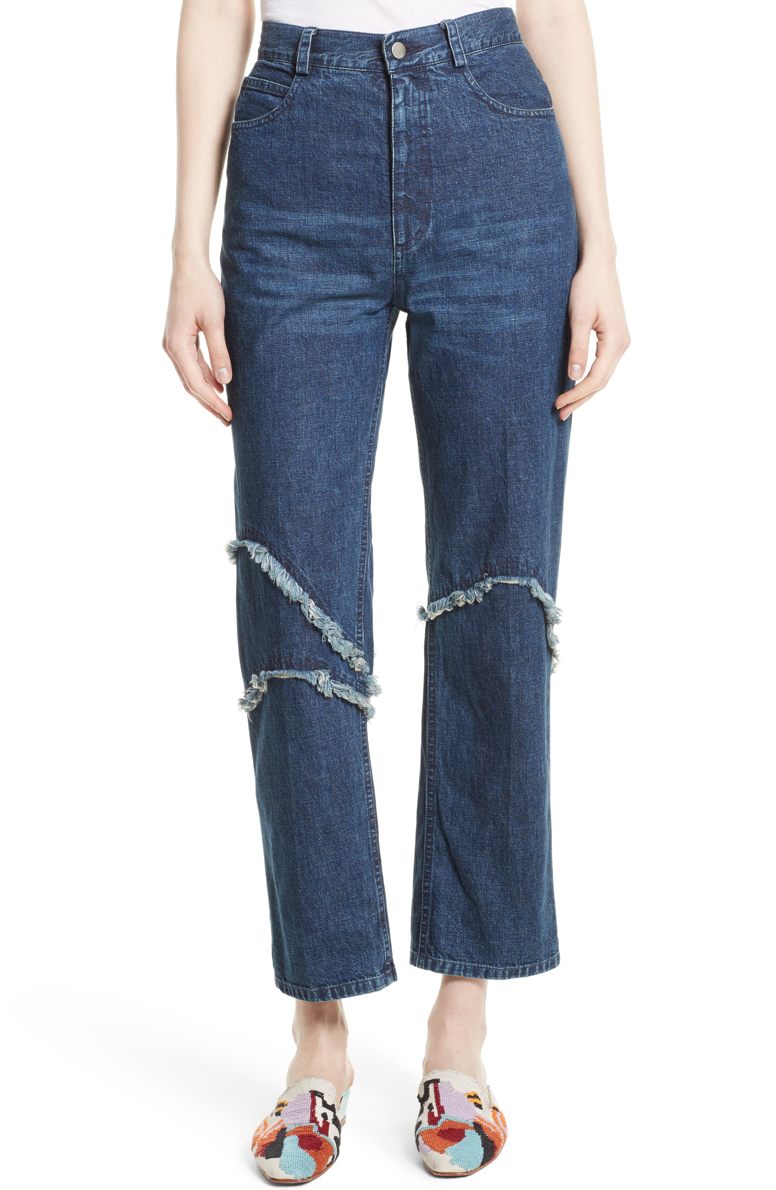 Ticklers Frayed High Waist Crop Jeans,                         Main,                         color, Classic Indigo