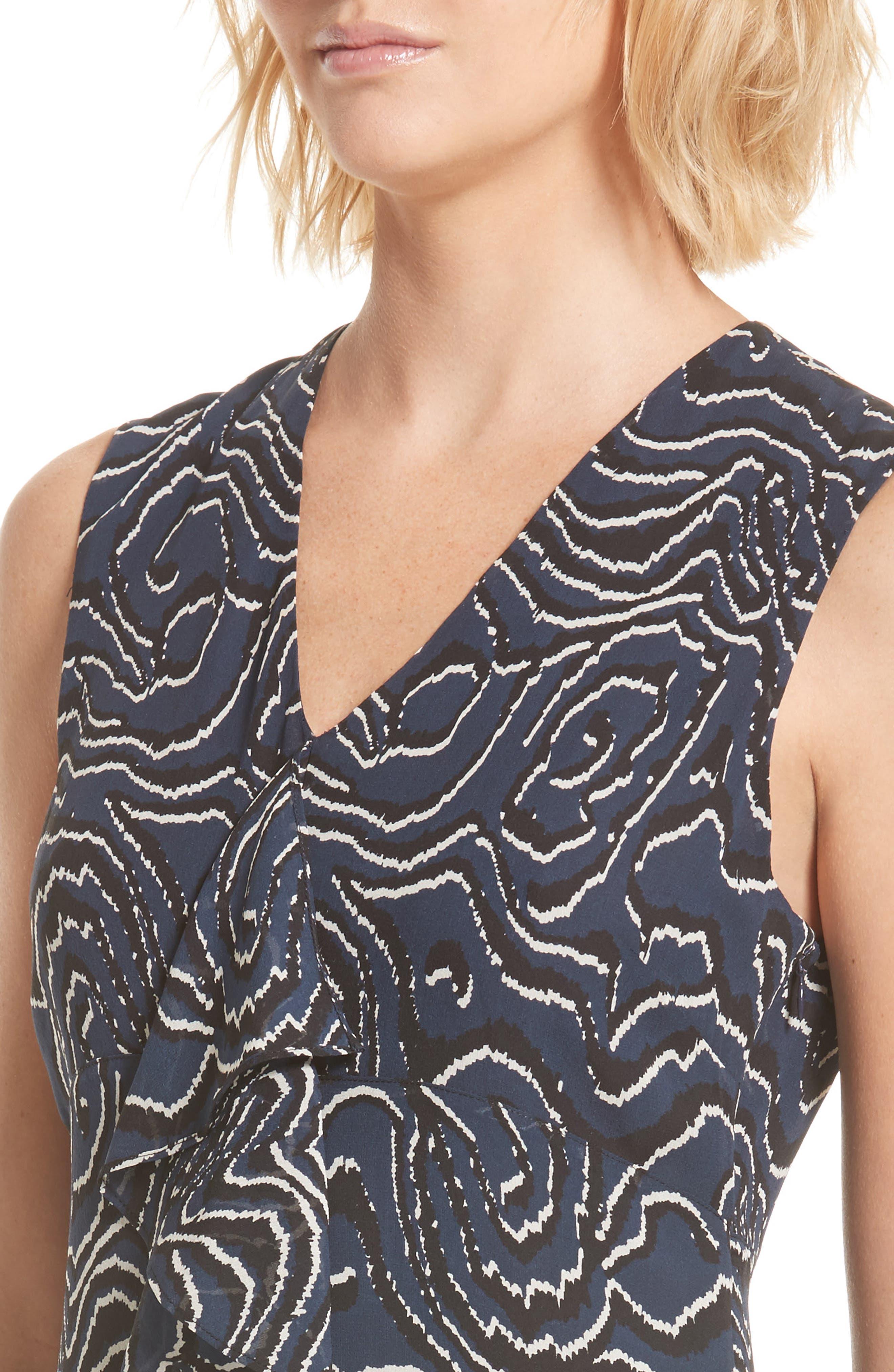 Ruffle Print Silk Dress,                             Alternate thumbnail 4, color,                             Midnight