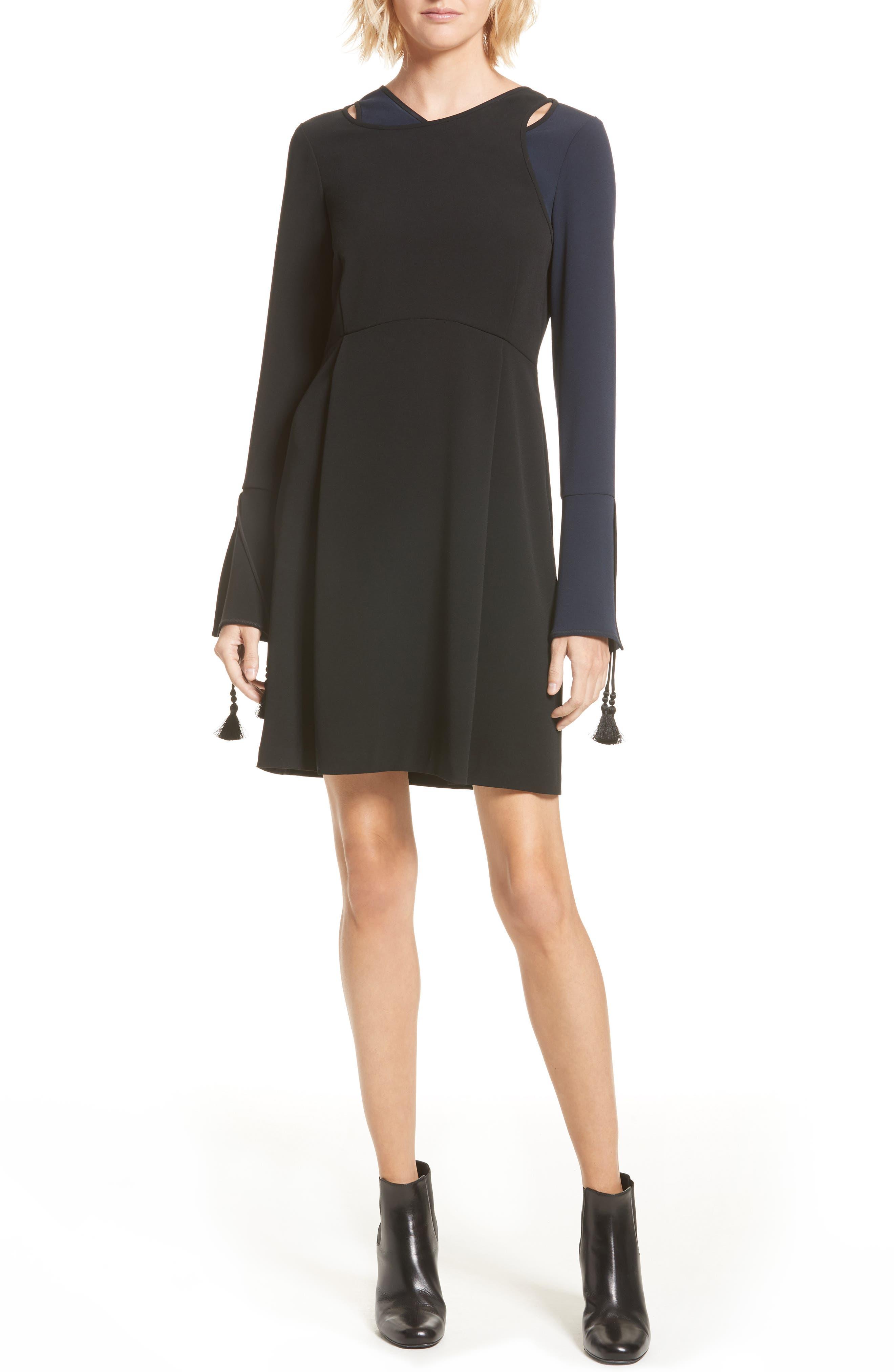 DEREK LAM 10 CROSBY Bell Sleeve Asymmetrical Dress