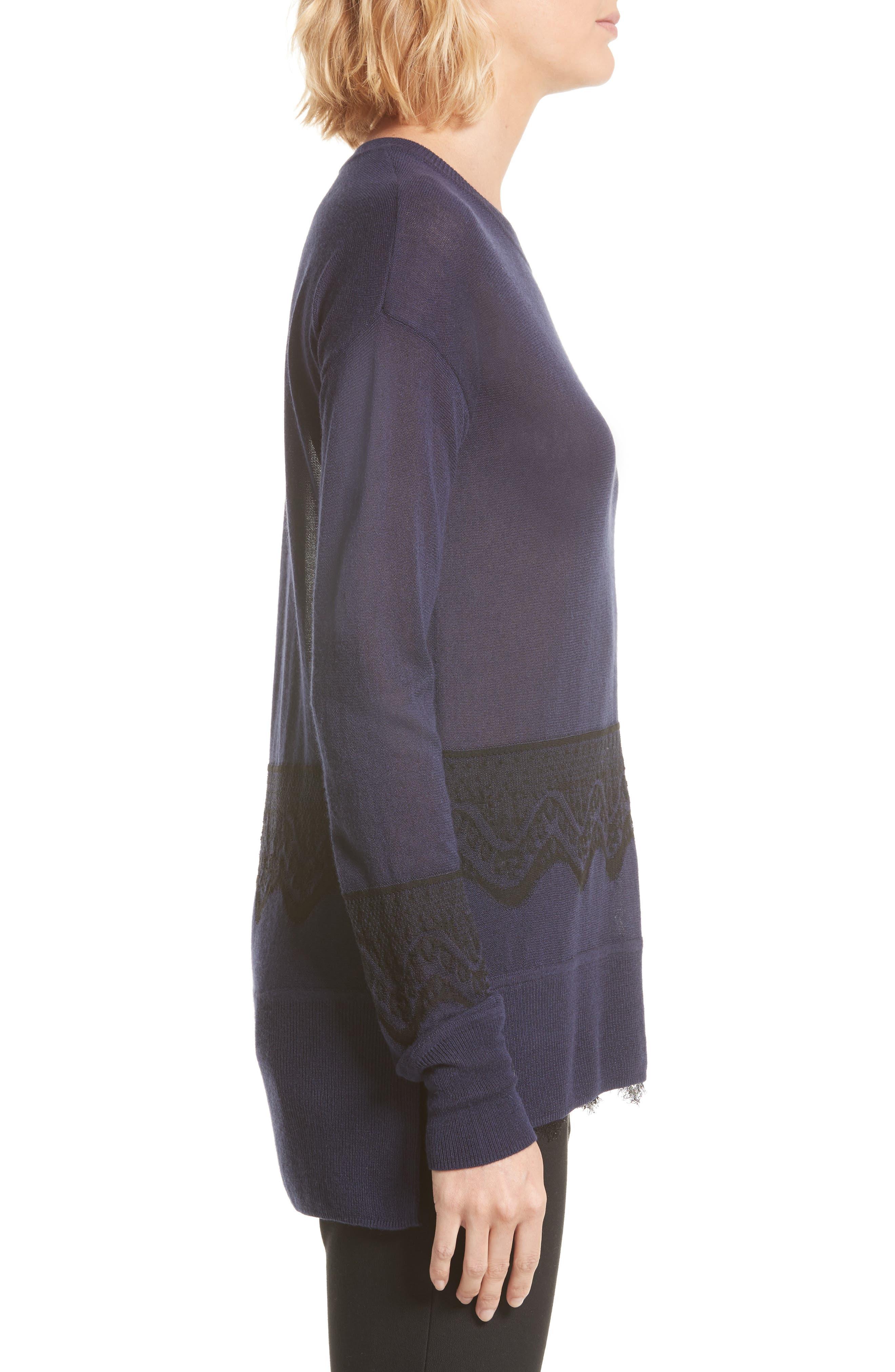 Alternate Image 4  - Derek Lam 10 Crosby Lace Hem Silk & Cashmere Pullover