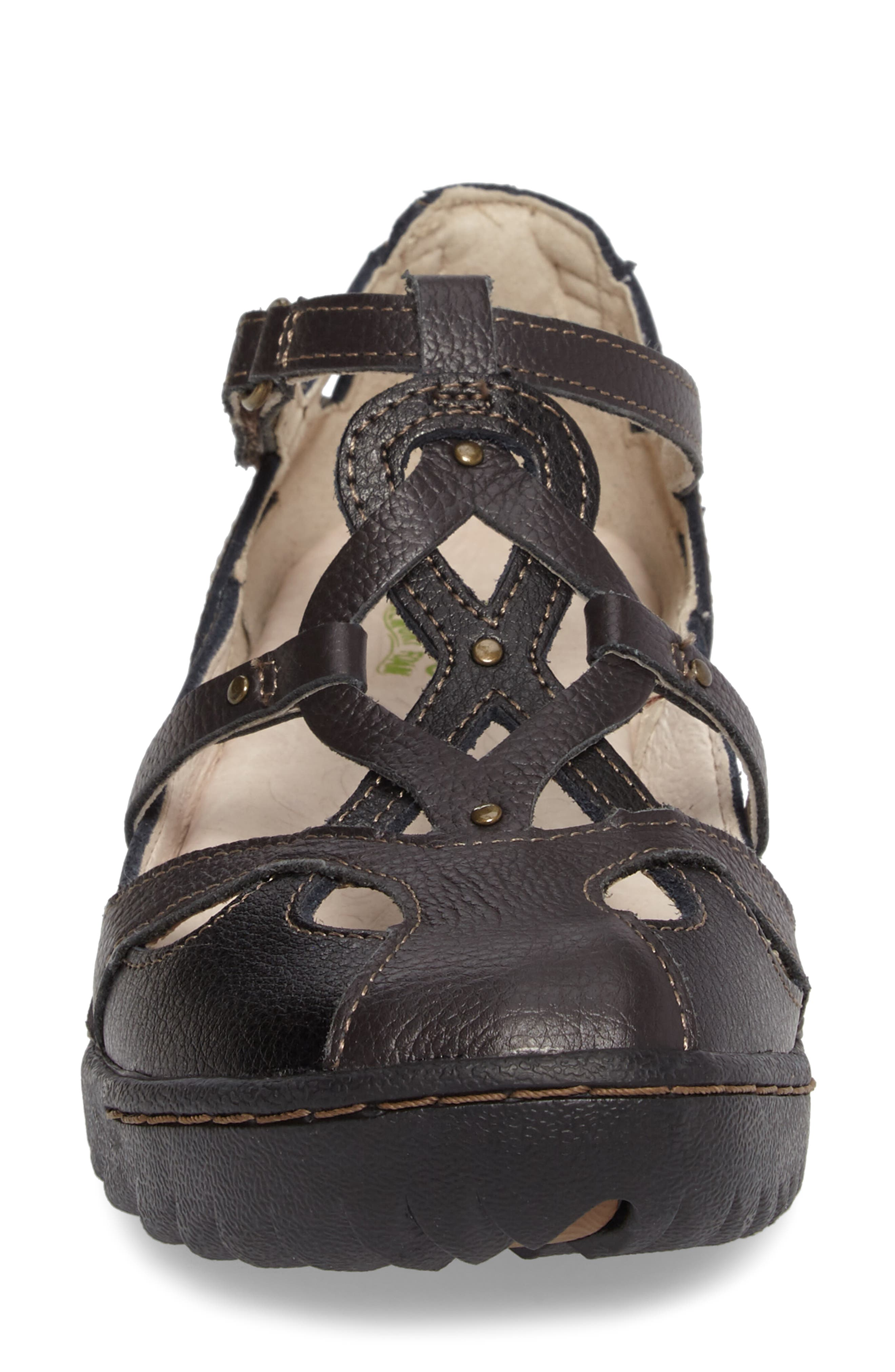 Spain Studded Strappy Sneaker,                             Alternate thumbnail 4, color,                             Black Leather
