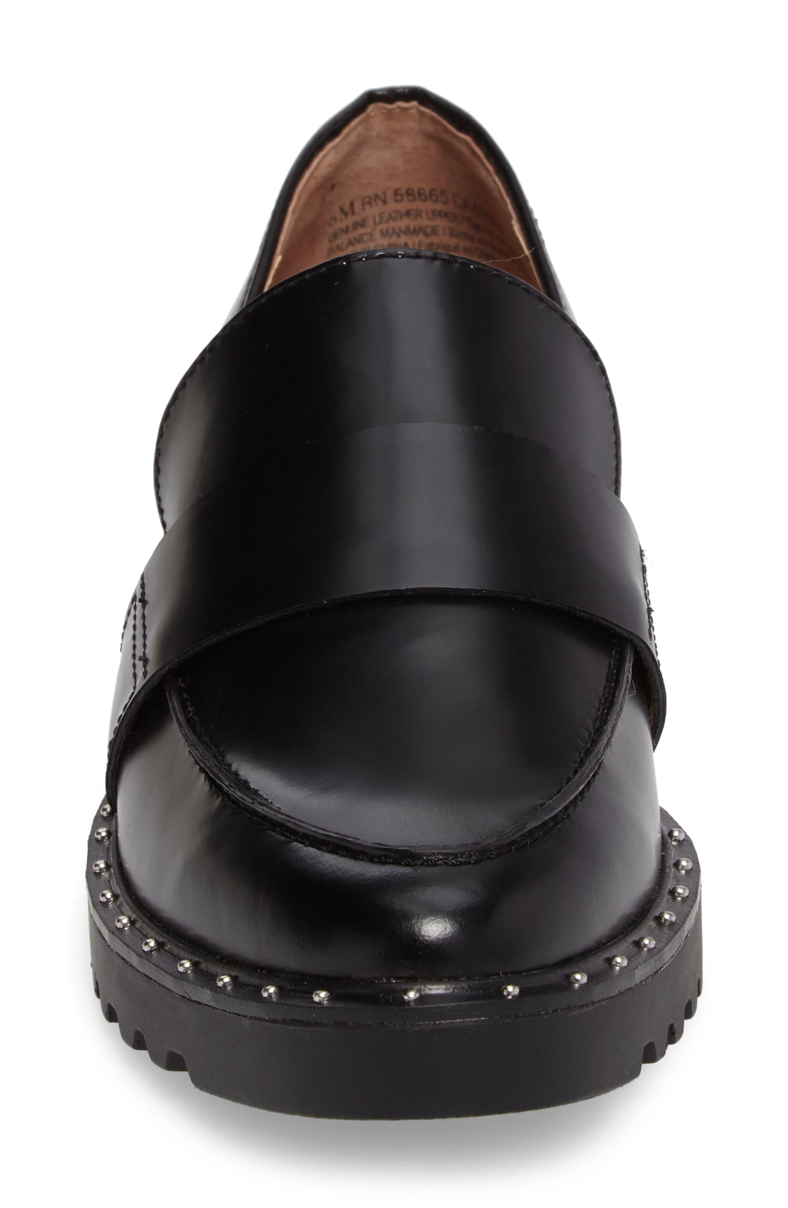 Emily Studded Flat,                             Alternate thumbnail 4, color,                             Black Box Leather