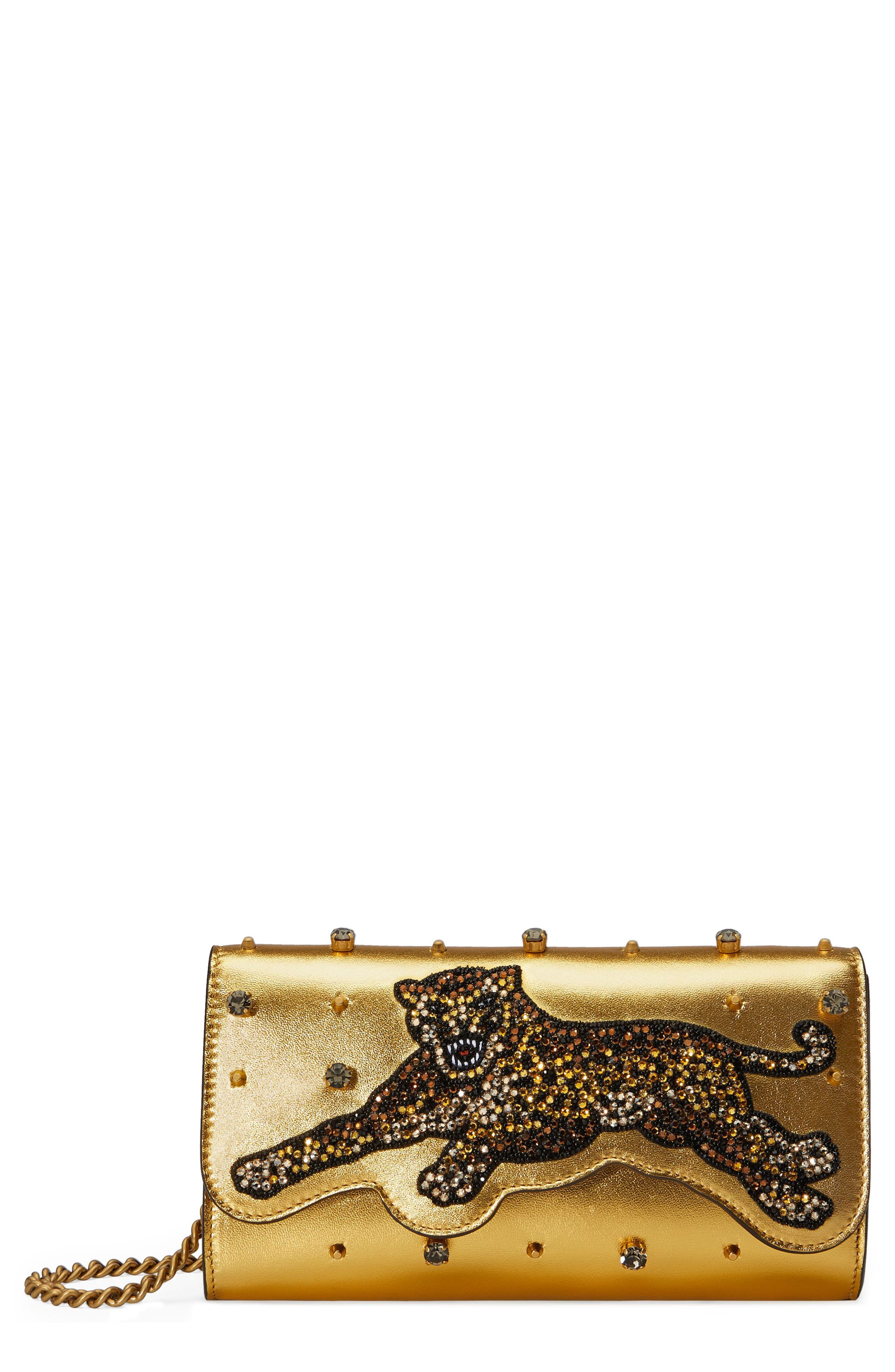 Main Image - Gucci Broadway Metallic Leather Shoulder Bag
