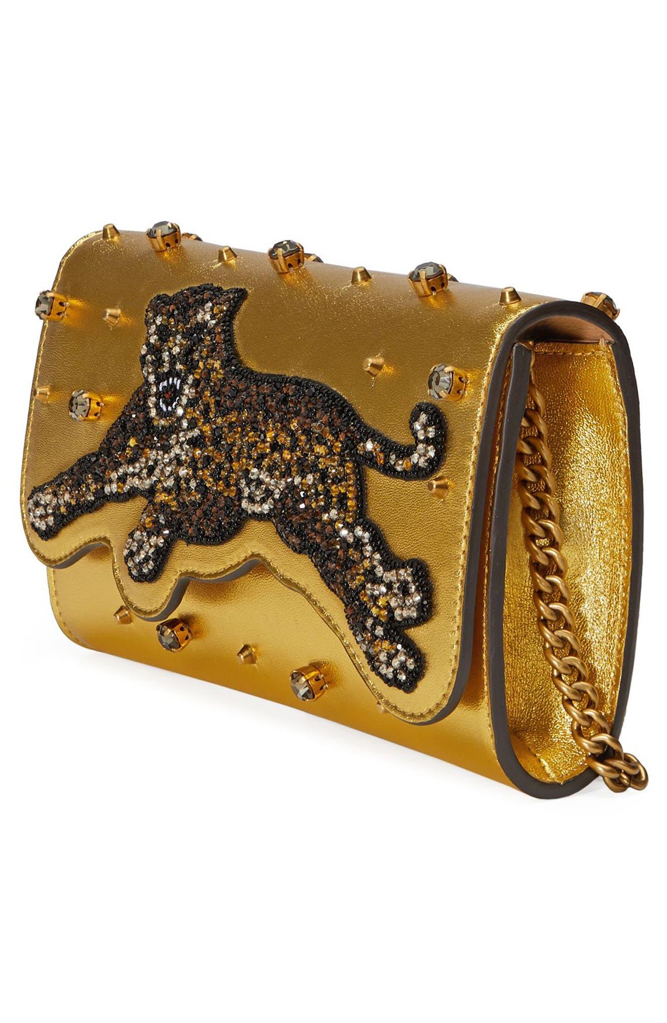 Alternate Image 4  - Gucci Broadway Metallic Leather Shoulder Bag