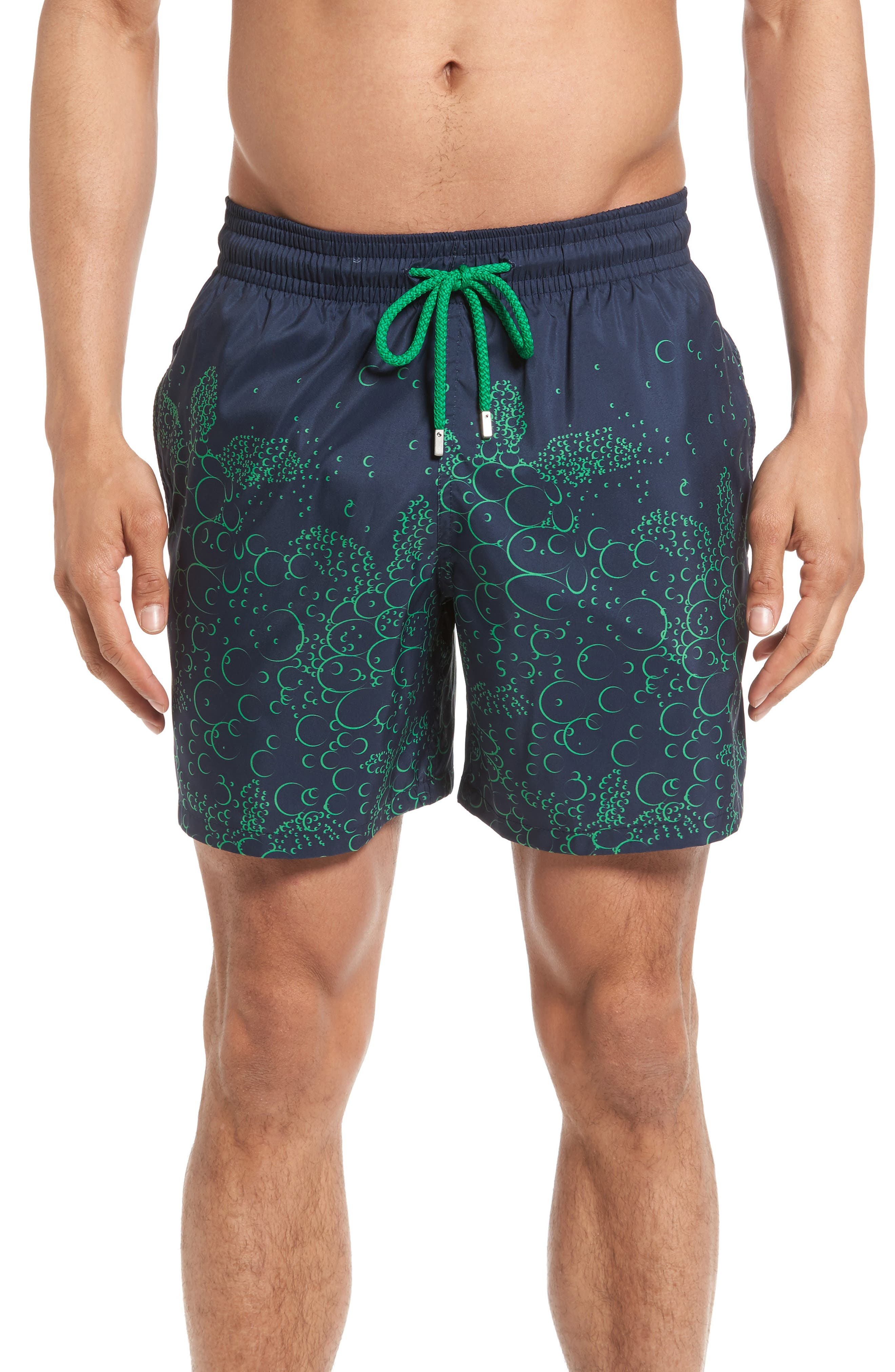 Mahina Bubble Turtles Print Swim Trunks,                         Main,                         color, Navy Blue