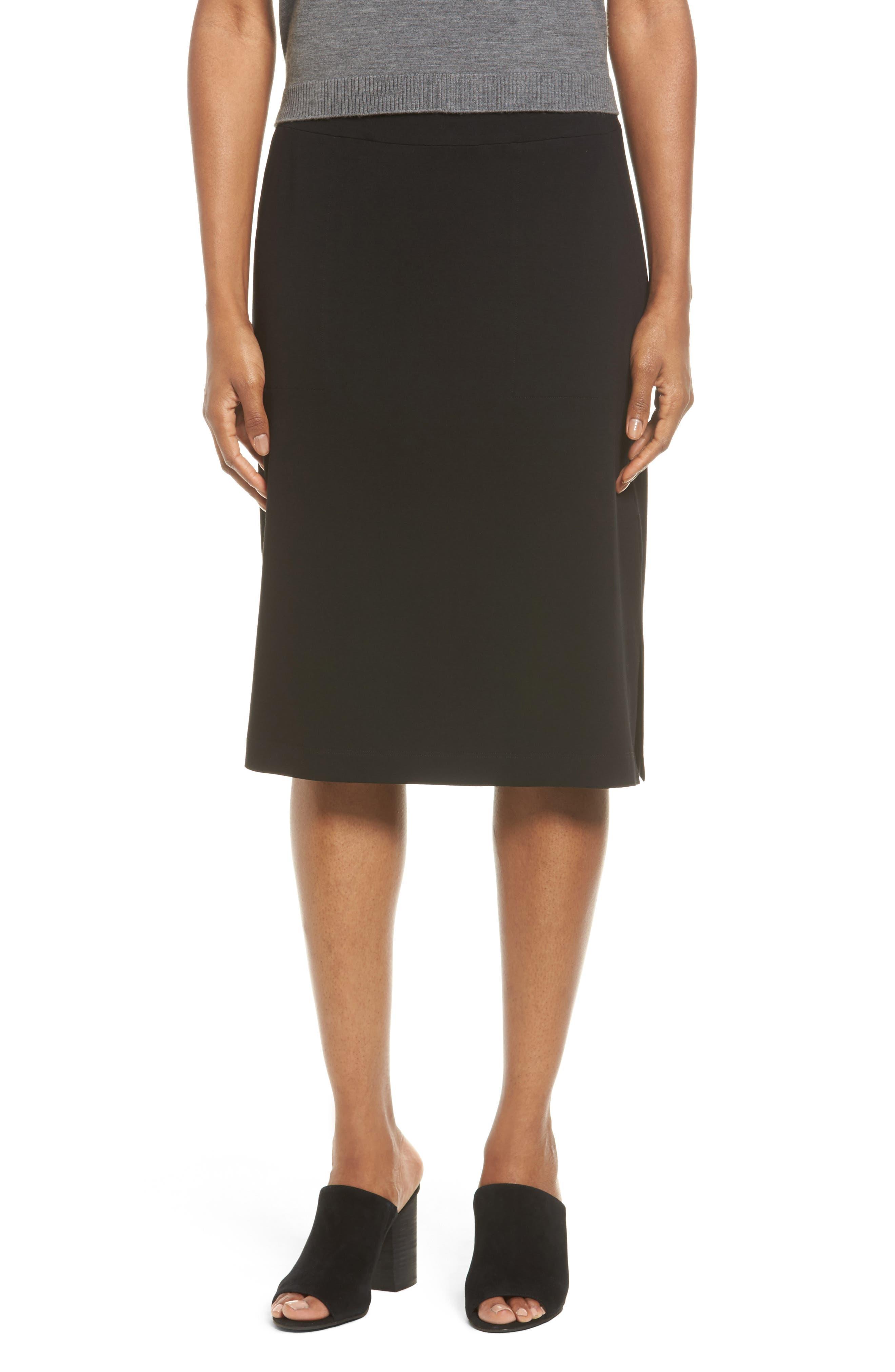 Alternate Image 1 Selected - Eileen Fisher Side Slit Jersey Skirt