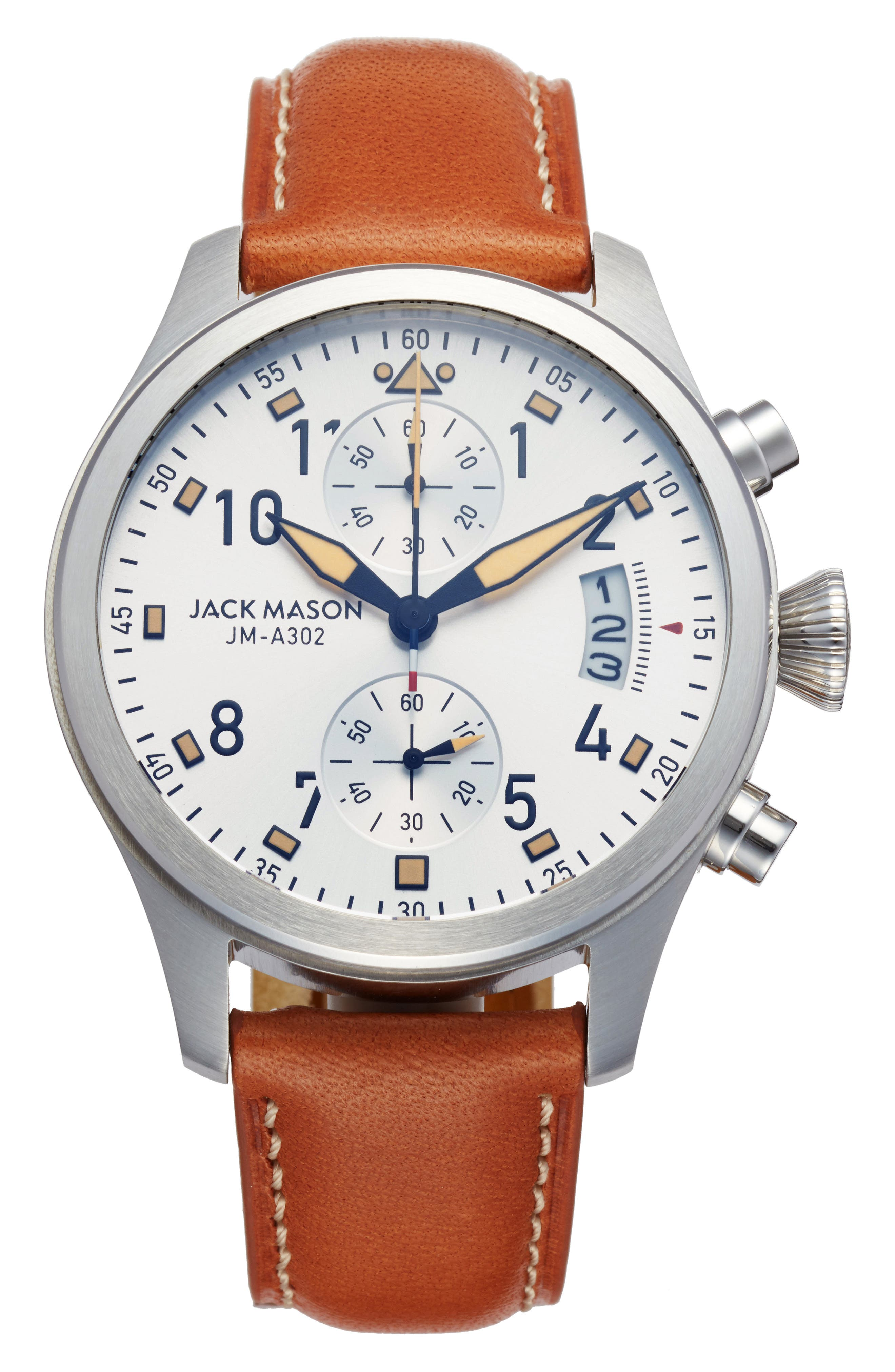 Aviation Chronograph Leather Strap Watch, 45mm,                         Main,                         color, White/ Tan