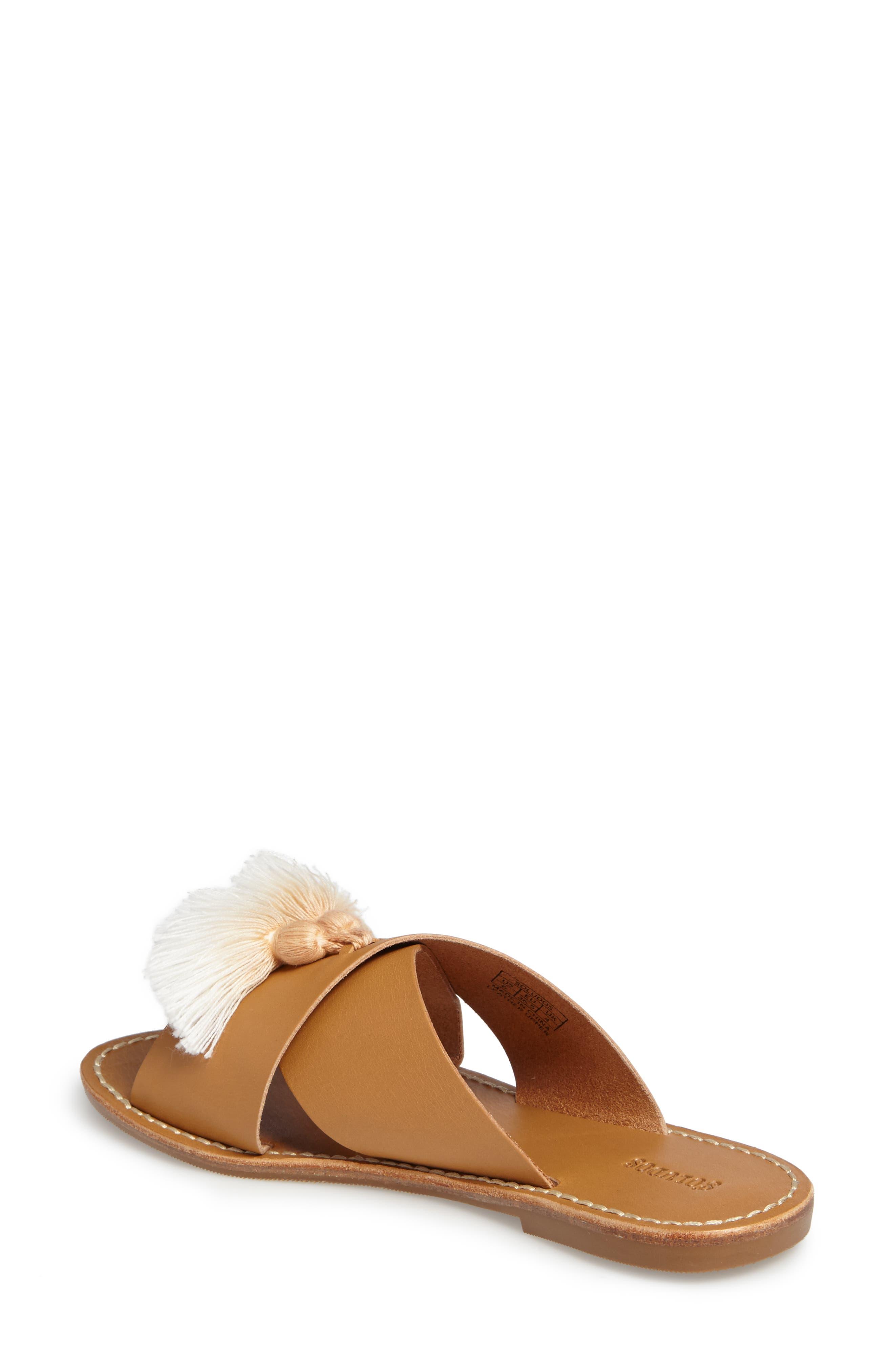 Tassel Slide Sandal,                             Alternate thumbnail 2, color,                             Brown Leather
