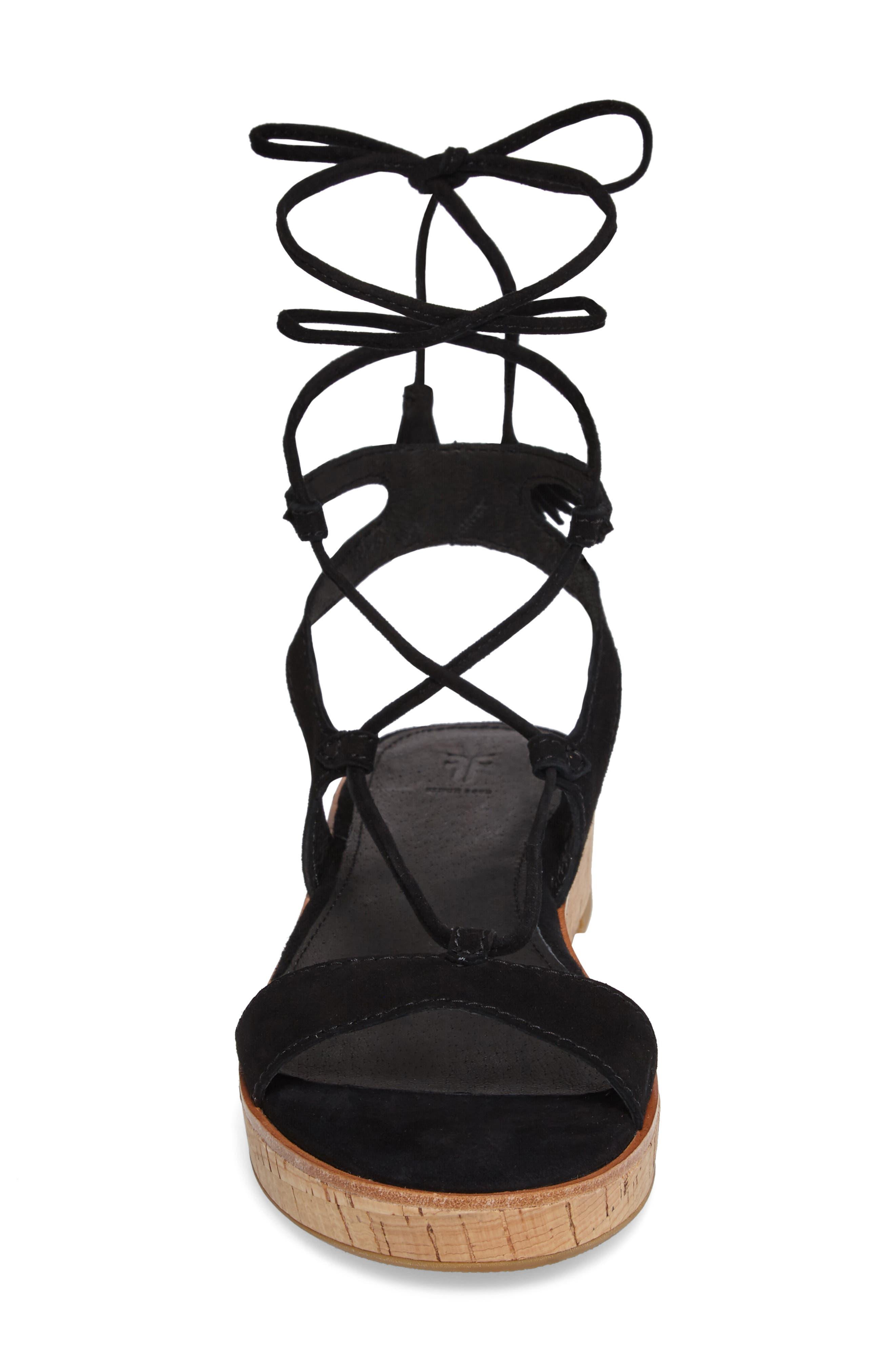 Miranda Gladiator Platform Sandal,                             Alternate thumbnail 4, color,                             Black Suede
