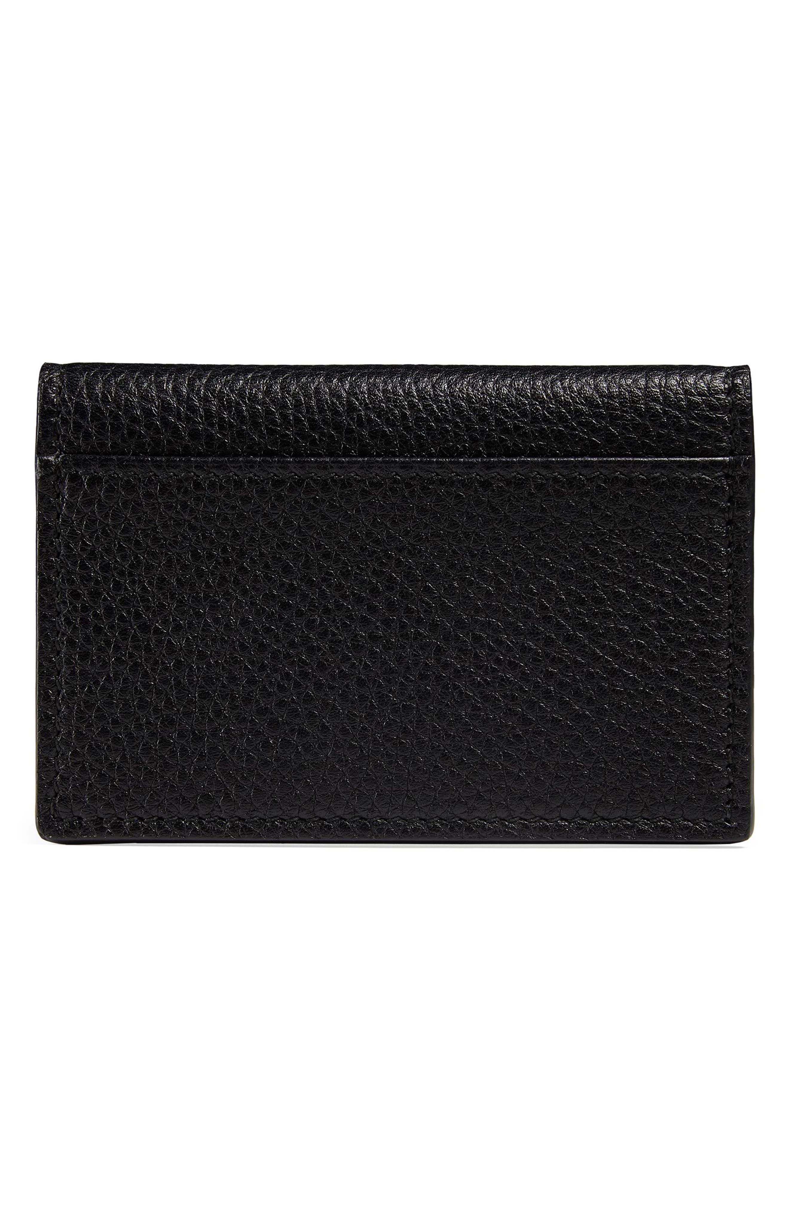 L'Aveugle Par Amour Leather Card Case,                             Alternate thumbnail 3, color,                             Nero