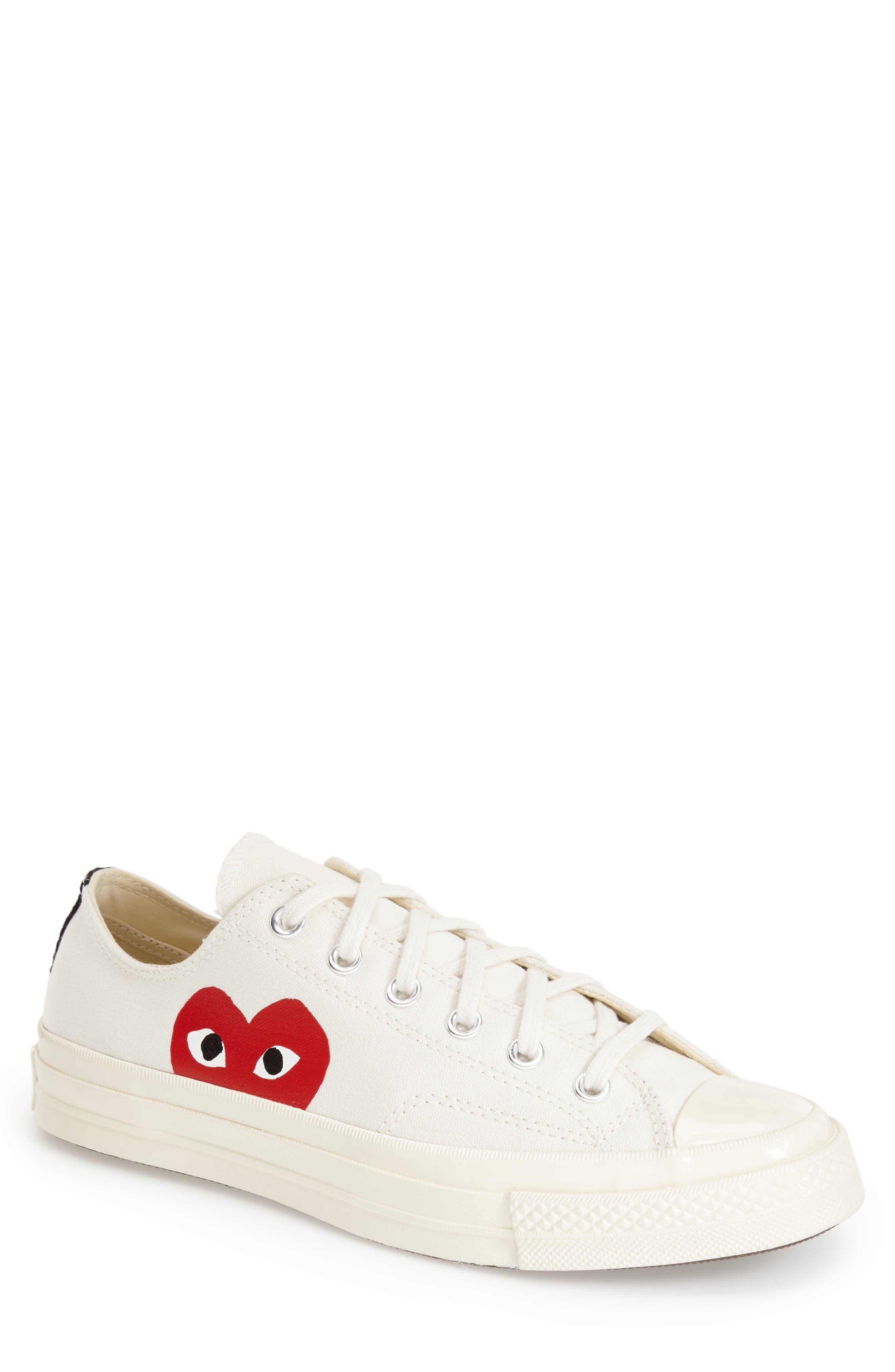Comme des Garçons PLAY x Converse Chuck Taylor<sup>®</sup> Hidden Heart Low Top Sneaker,                             Main thumbnail 1, color,                             Beige