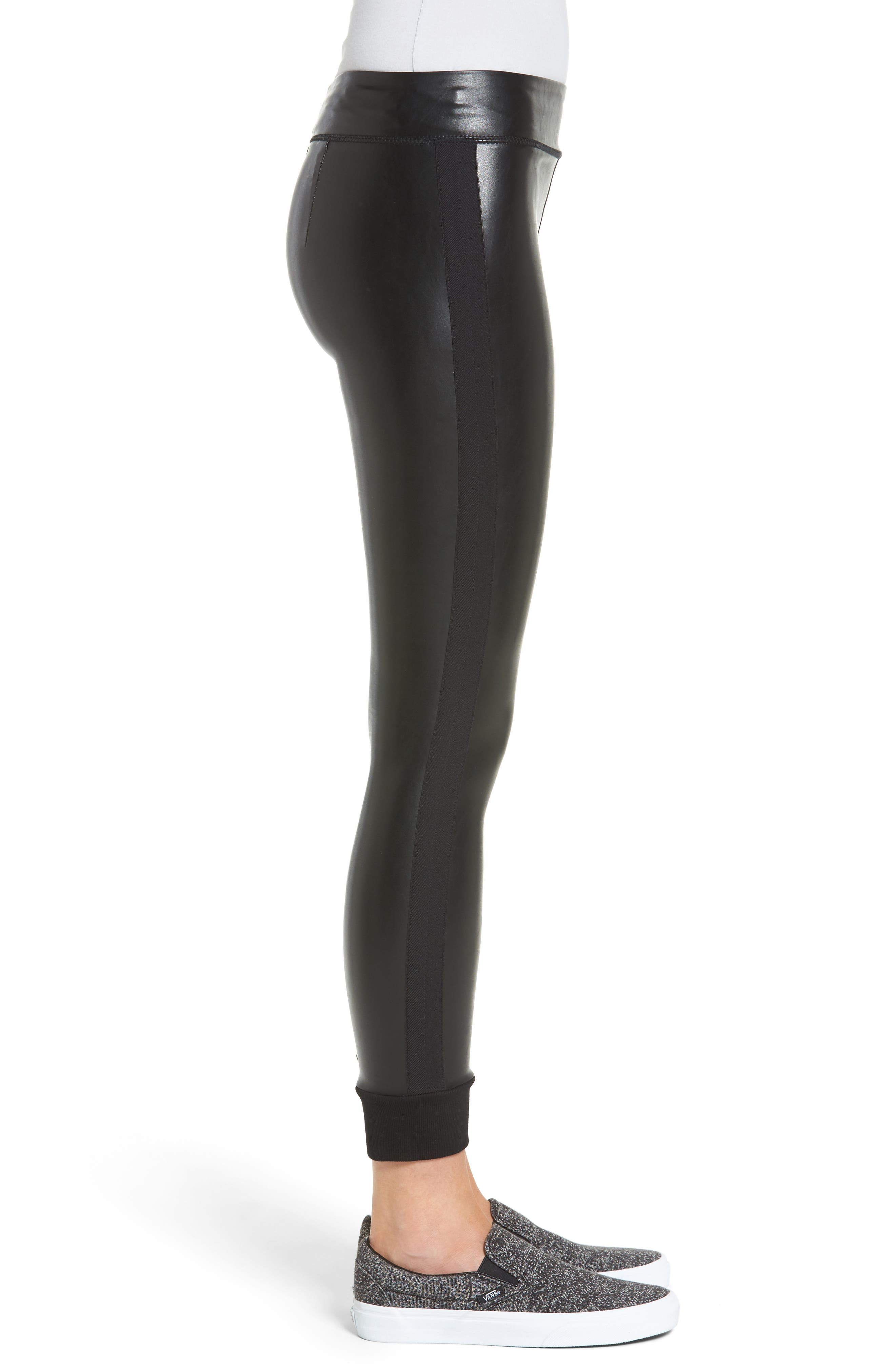 Alternate Image 3  - David Lerner Cuffed Faux Leather Leggings
