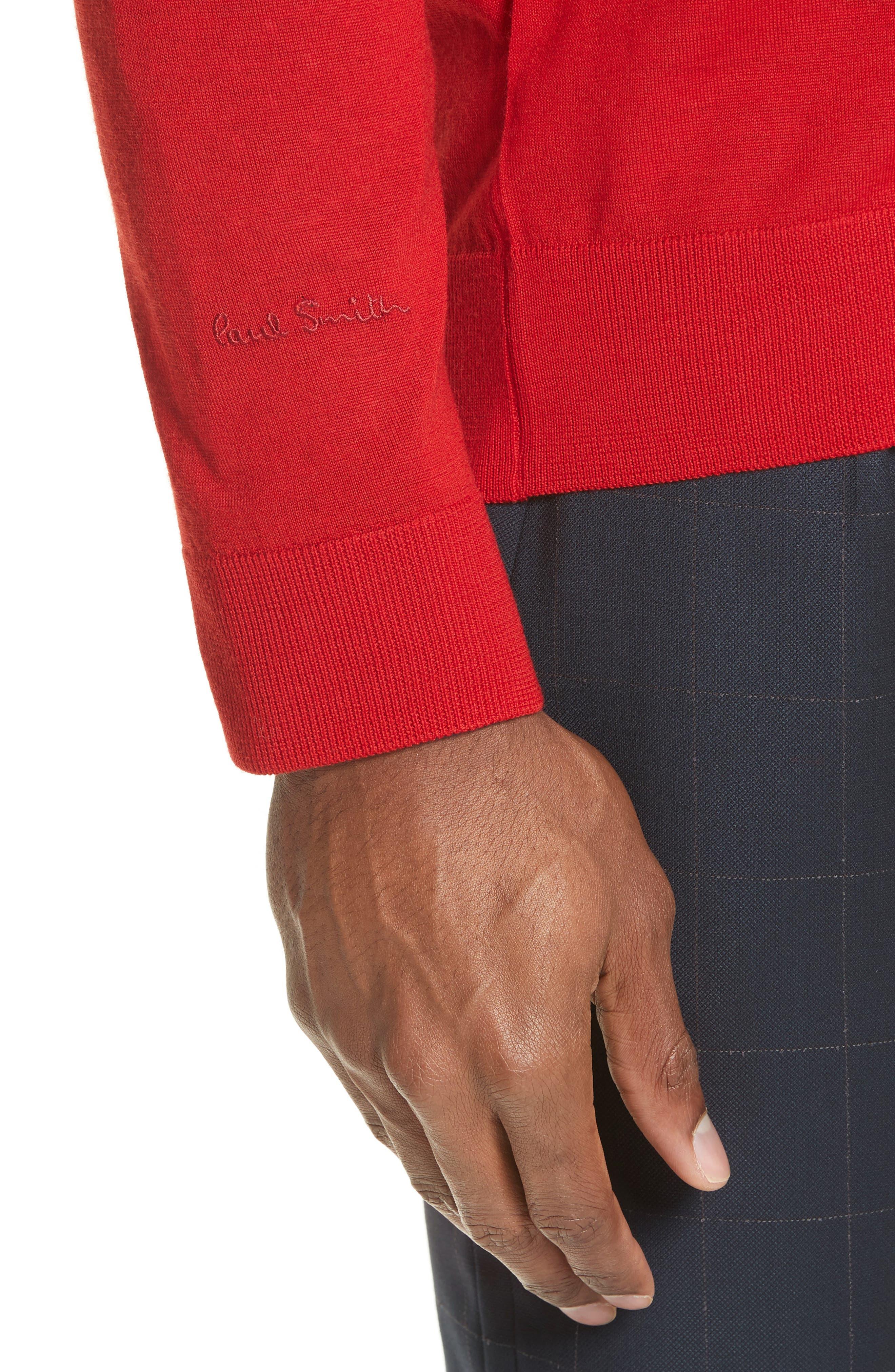 Merino Wool Cardigan,                             Alternate thumbnail 4, color,                             Red