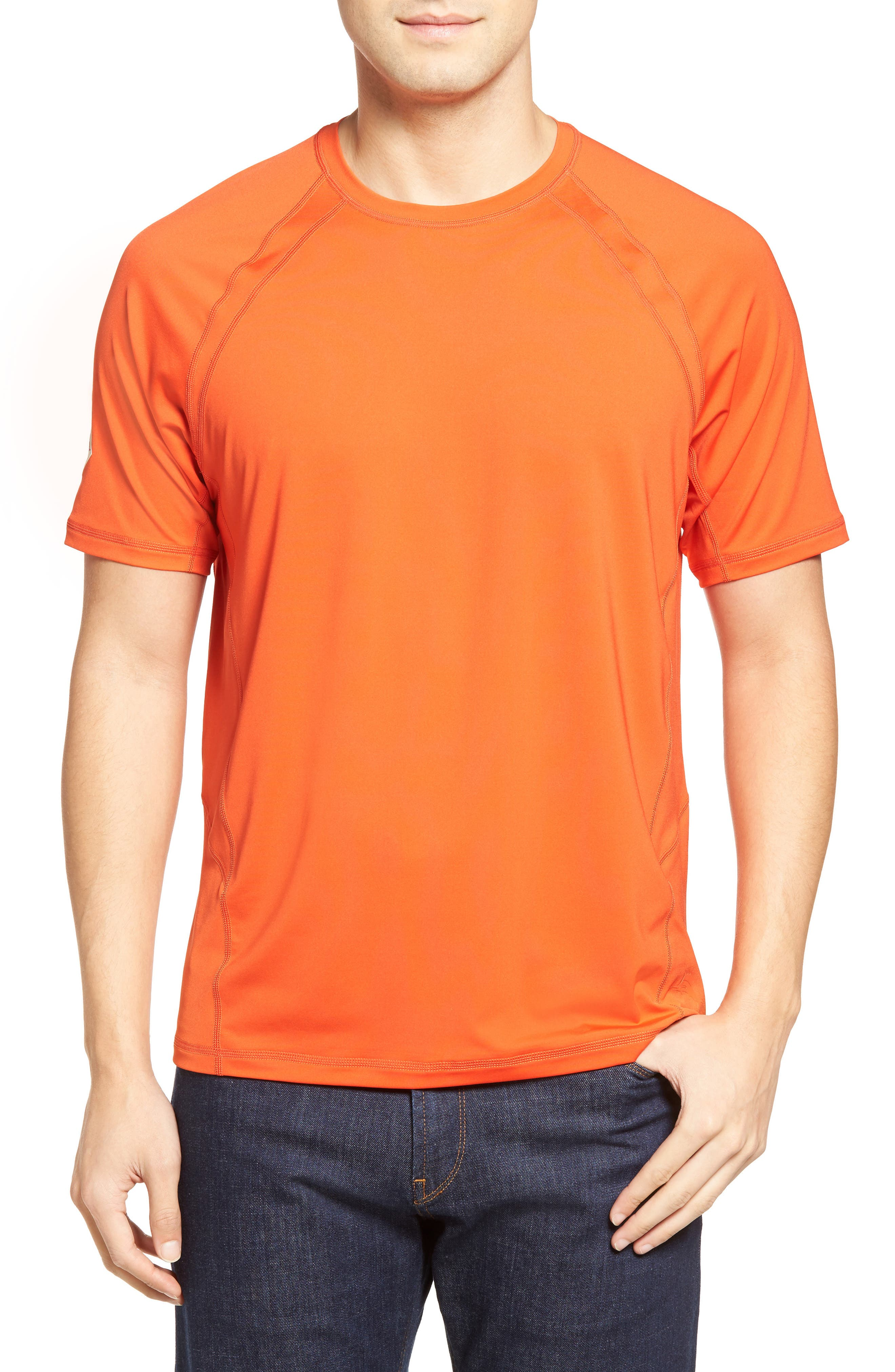Surf Chaser Crewneck T-Shirt,                         Main,                         color, California Poppy