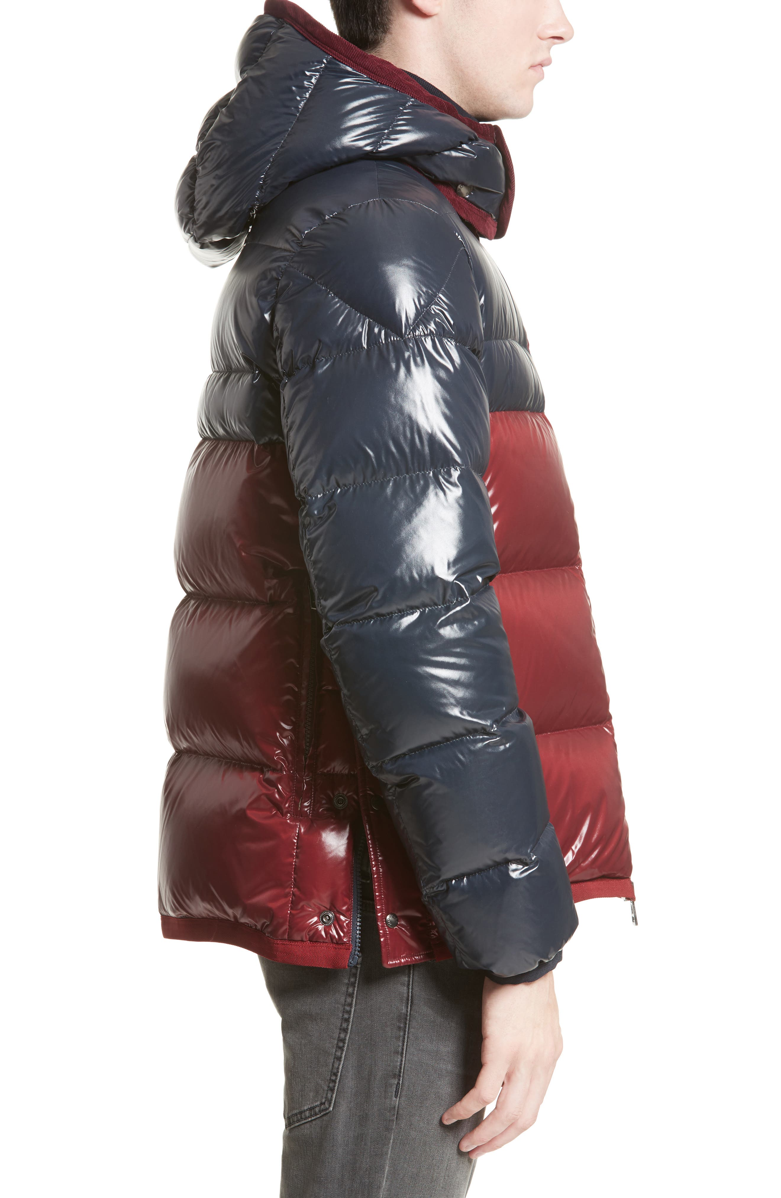 Harry Two-Tone Lacquered Hooded Down Jacket,                             Alternate thumbnail 3, color,                             Navy