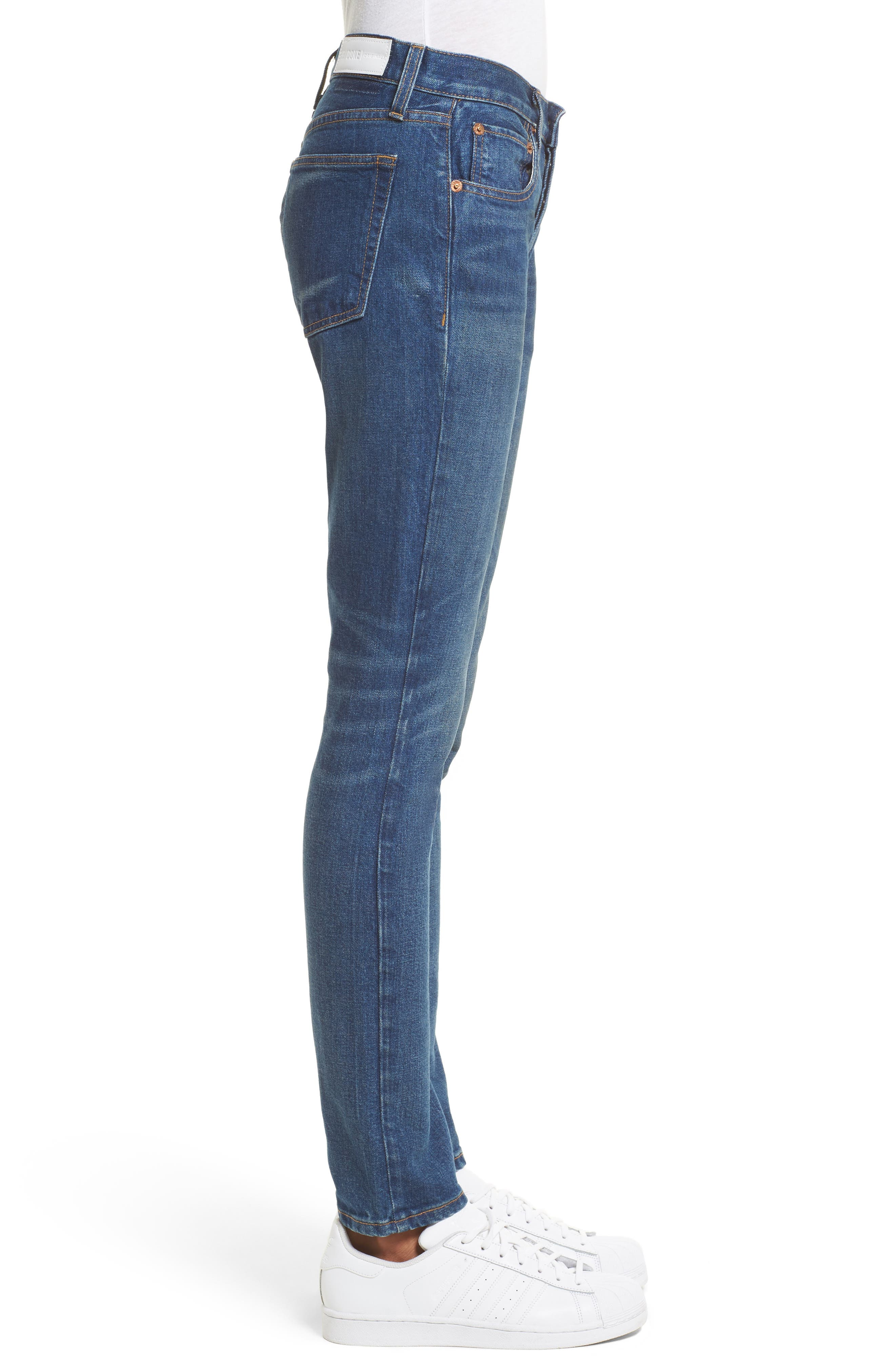 High Waist Stretch Crop Jeans,                             Alternate thumbnail 3, color,                             Med Vain