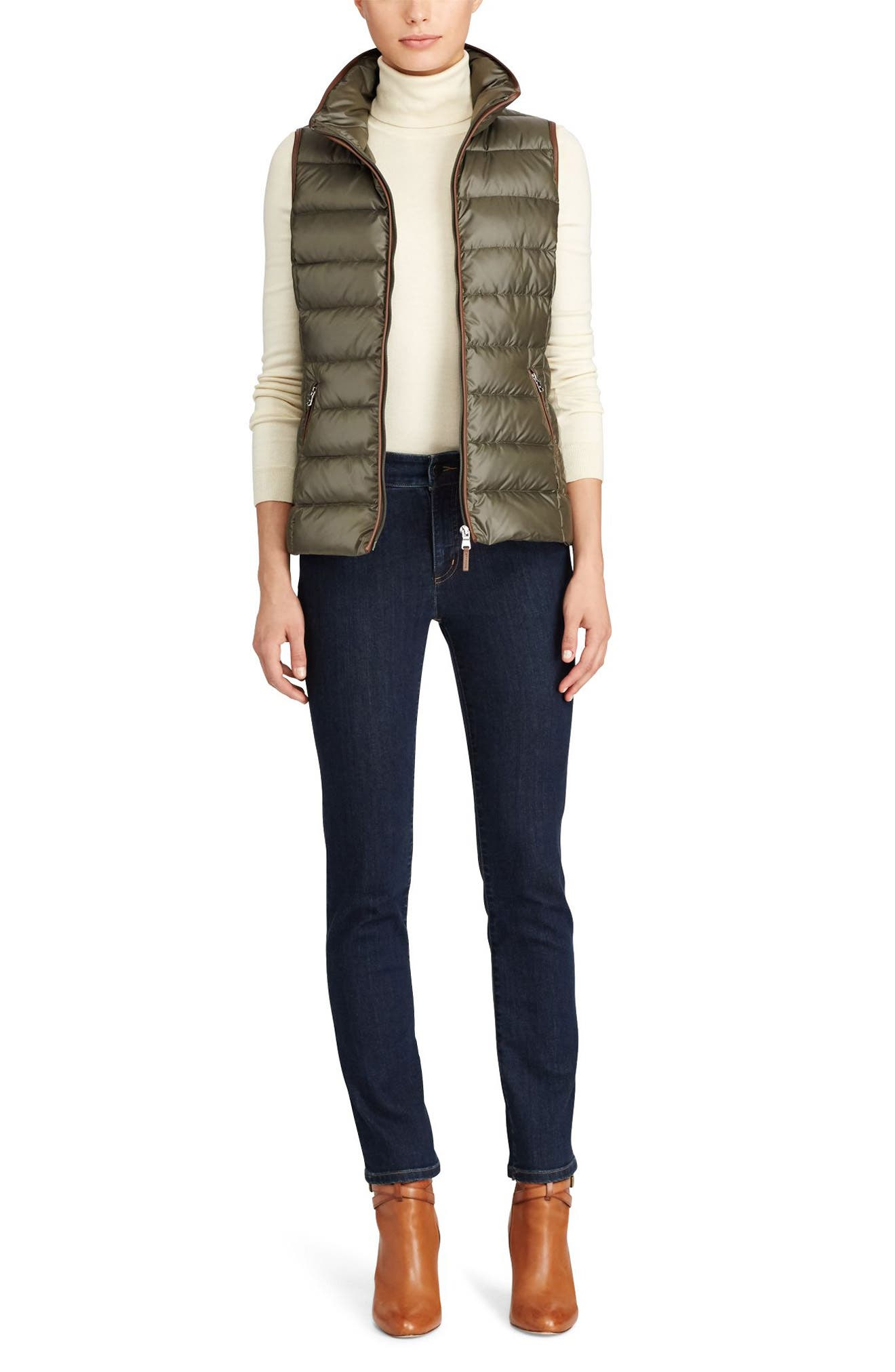 Quilted Down Vest,                             Alternate thumbnail 2, color,                             Soft Loden