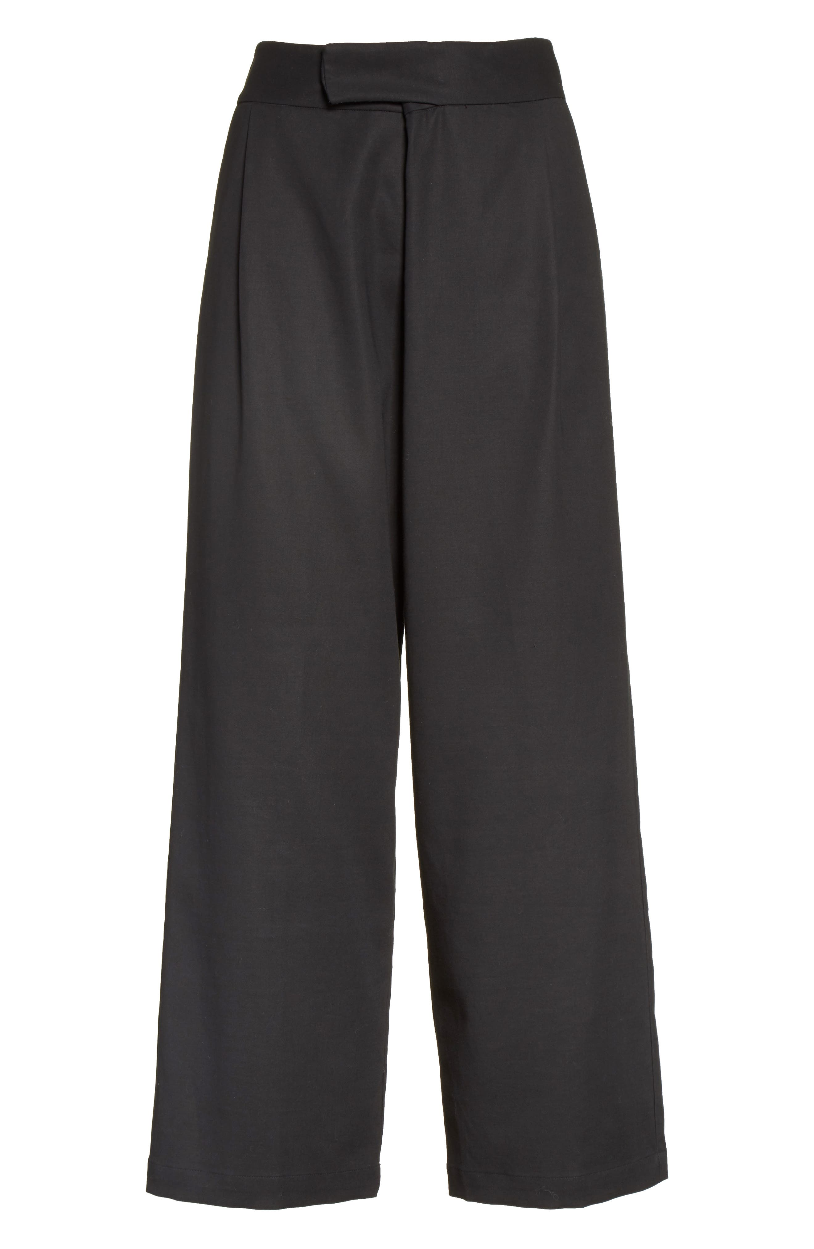 Gabardine Wrap Front Crop Pants,                             Alternate thumbnail 4, color,                             Black