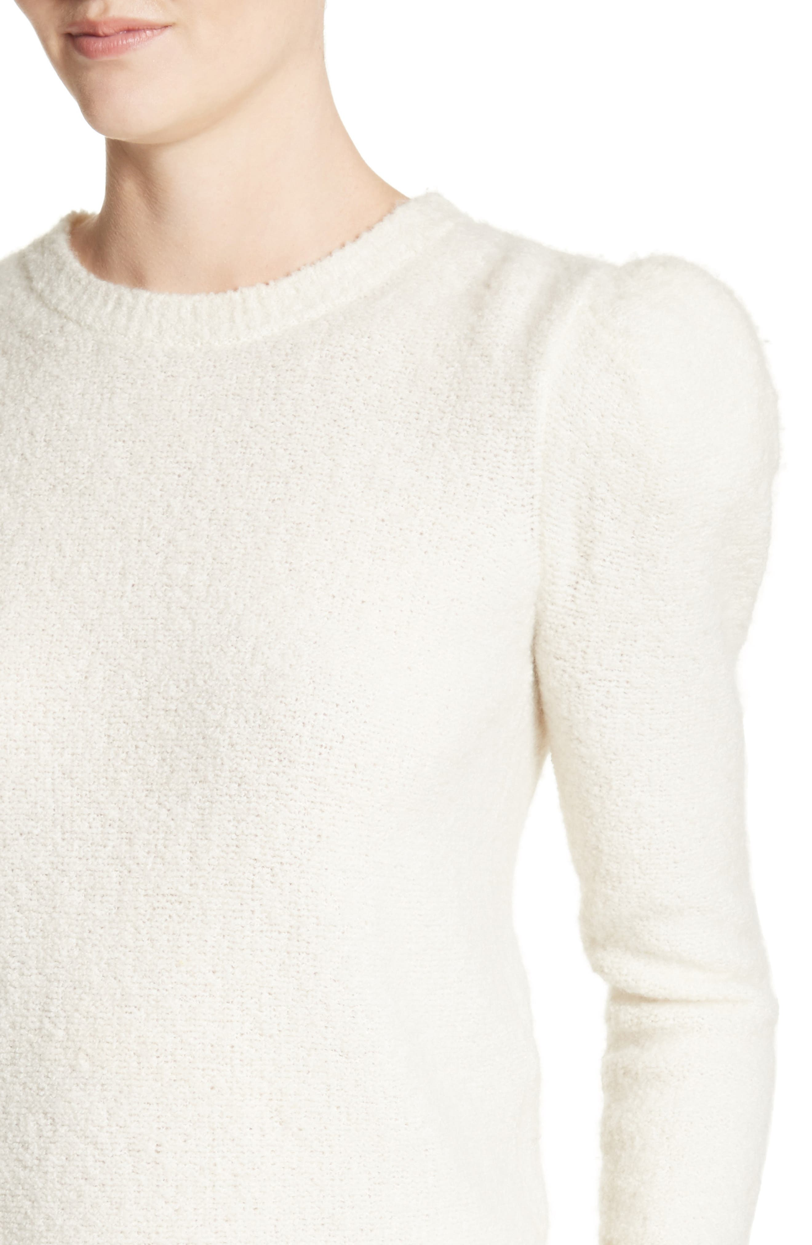 Puff Sleeve Cashmere Blend Sweater,                             Alternate thumbnail 6, color,                             Ivory