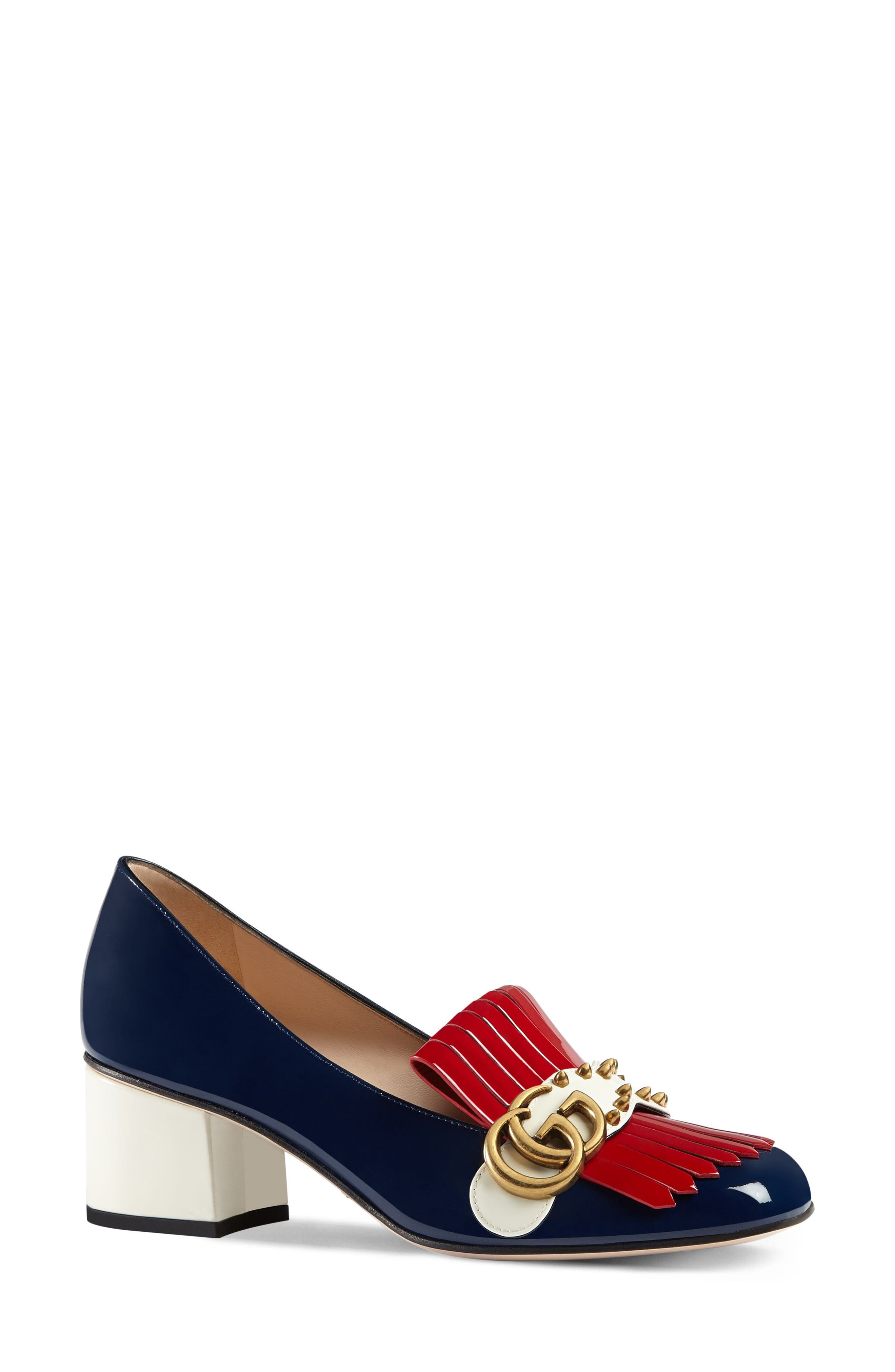 Marmont Pump,                             Alternate thumbnail 2, color,                             Navy/ Red/ White