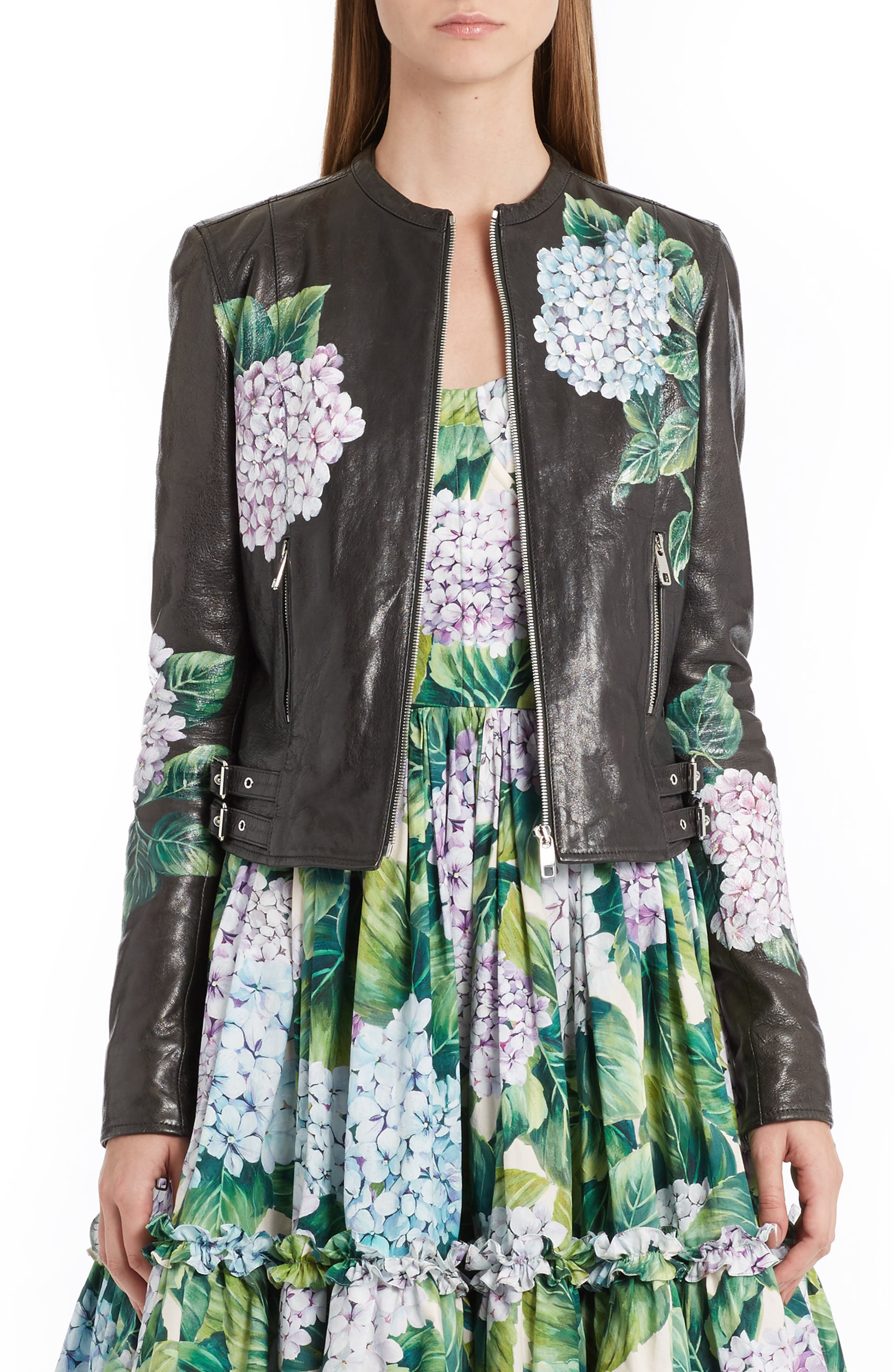 DOLCE&GABBANA Hydrangea Painted Leather Jacket