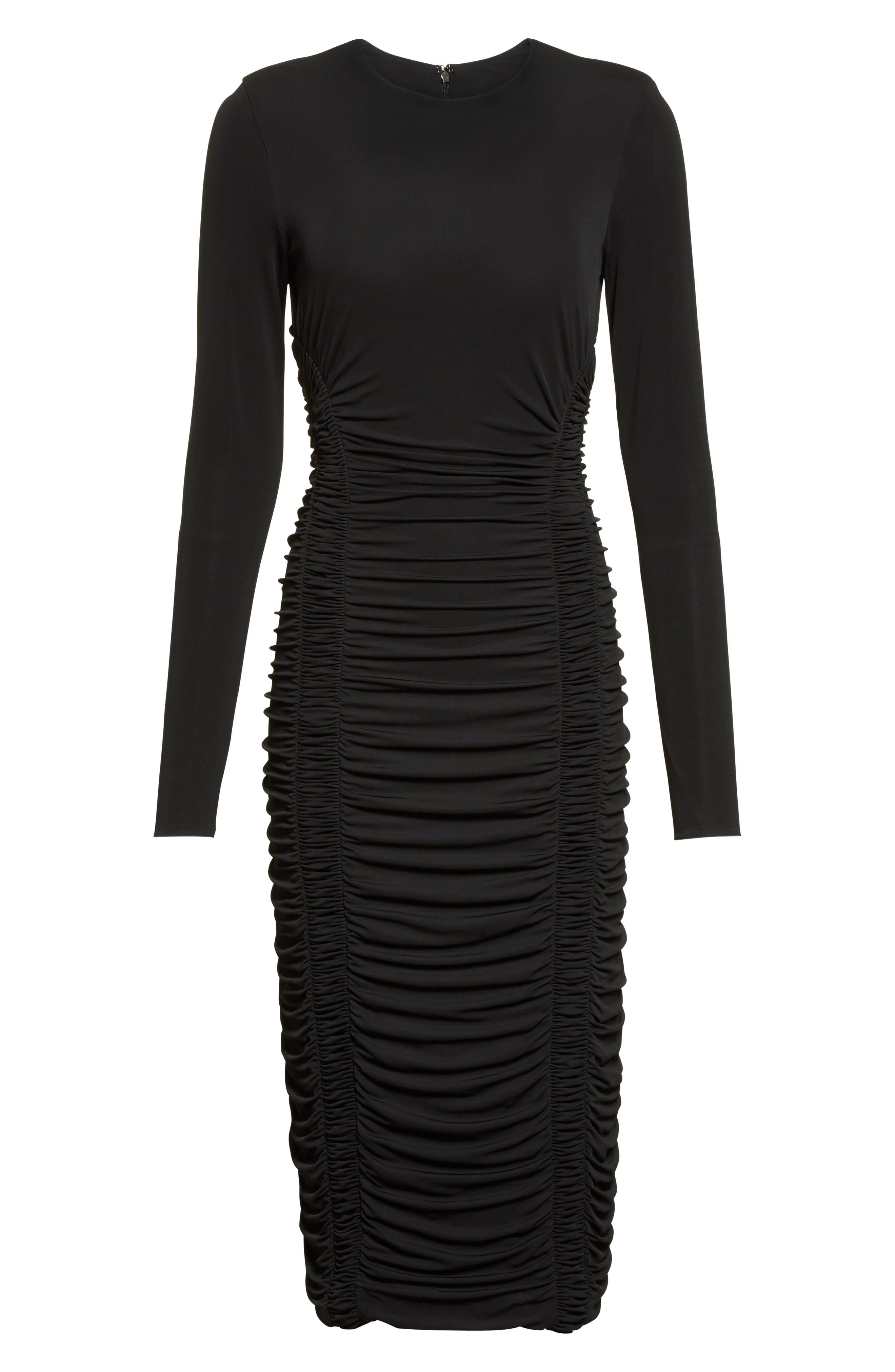 Ruched Stretch Jersey Dress,                             Alternate thumbnail 4, color,                             Black