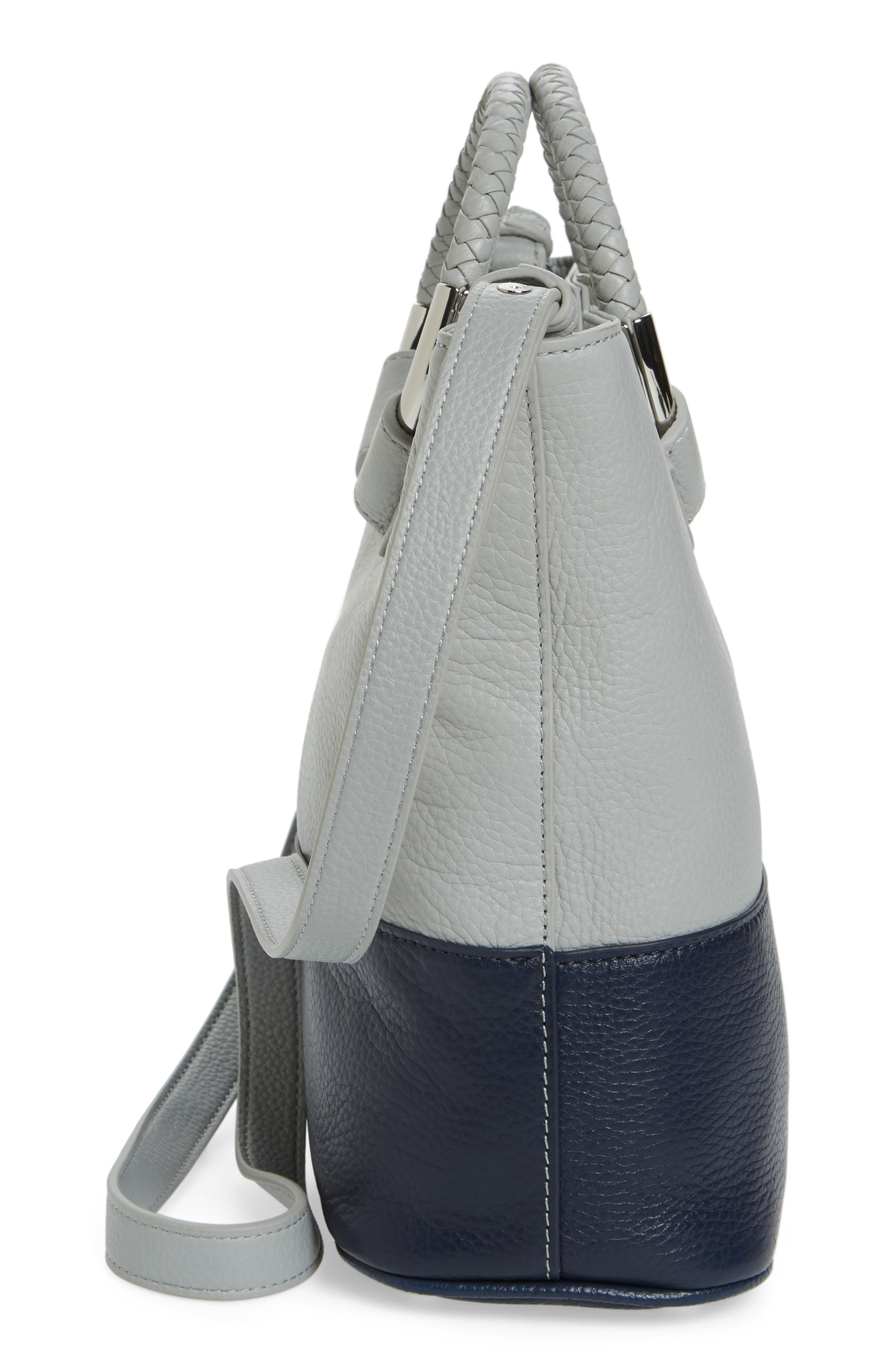 Small Elina Leather Crossbody Bag,                             Alternate thumbnail 5, color,                             Denim/ Ink Navy