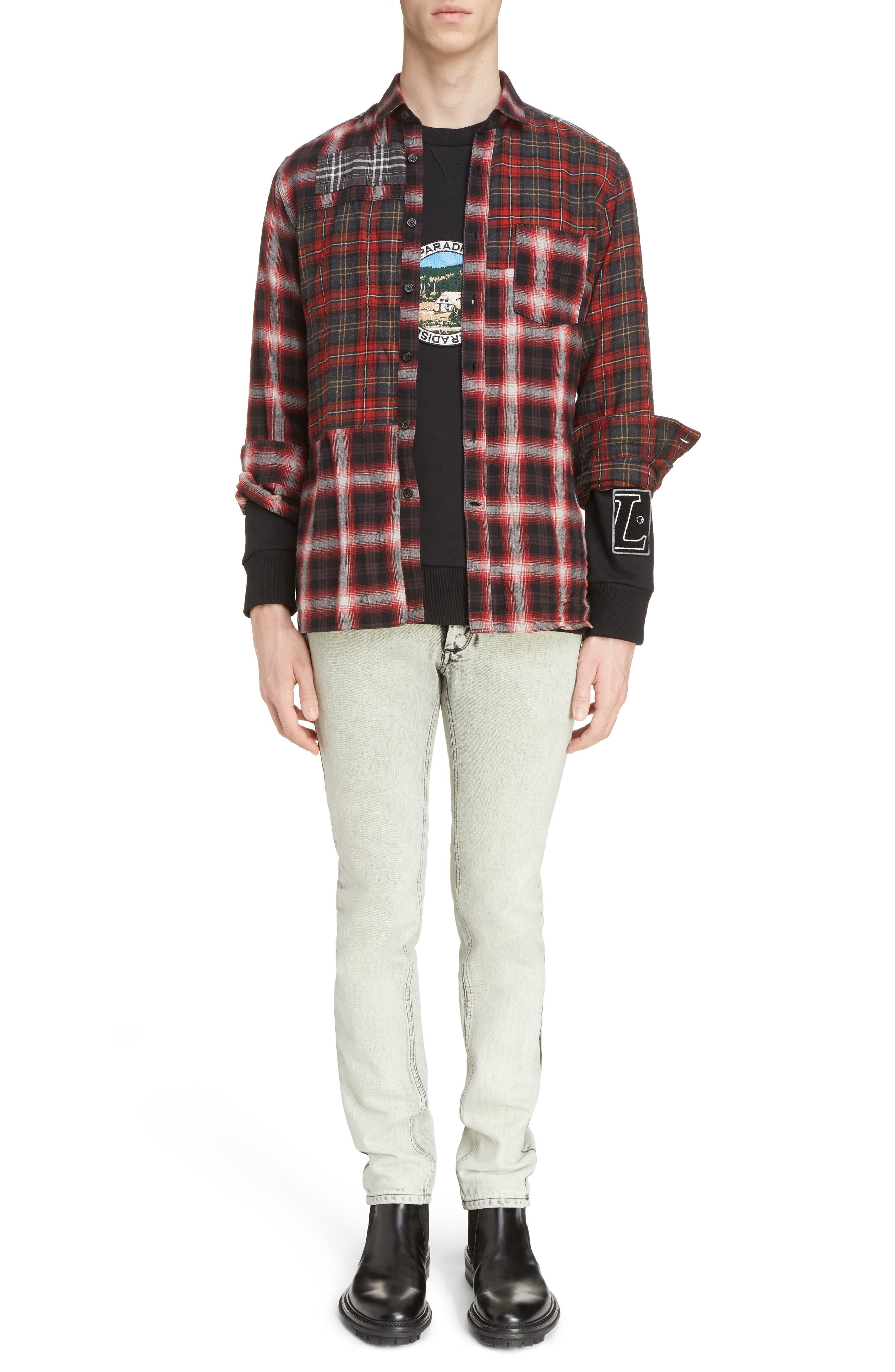 Pieced Plaid Flannel Shirt,                             Alternate thumbnail 6, color,                             Grey/ Red
