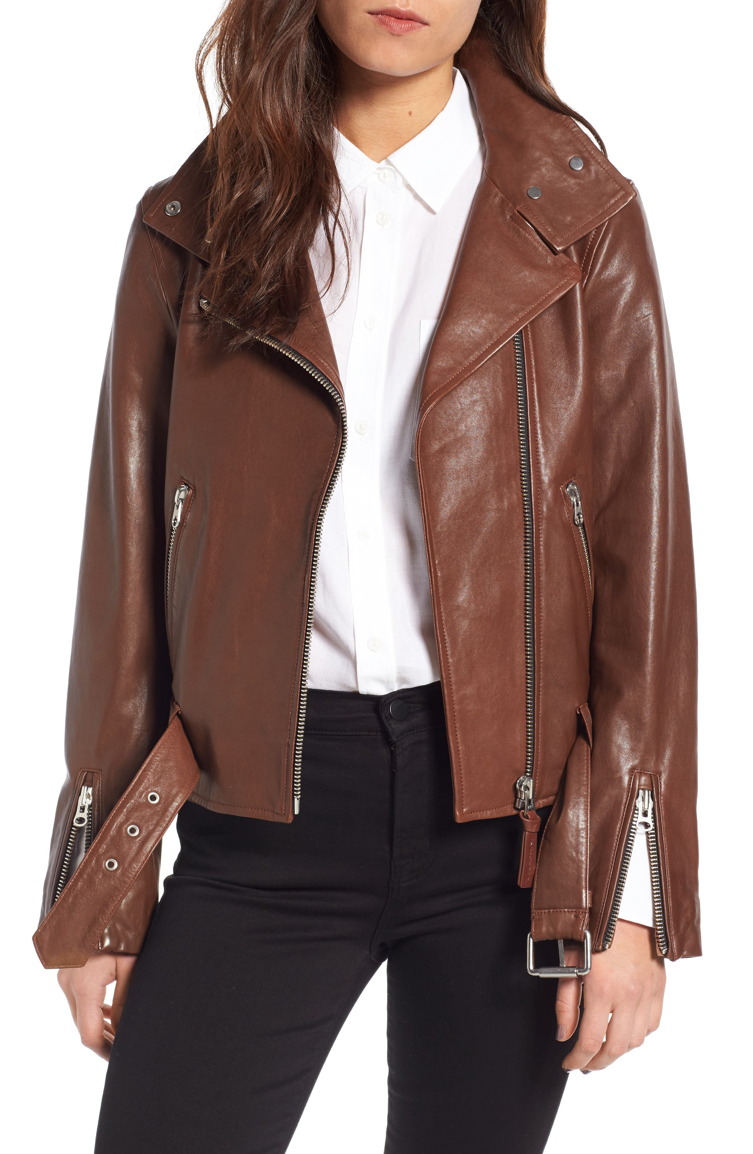 Mackage Miela-N Belted Leather Moto Jacket
