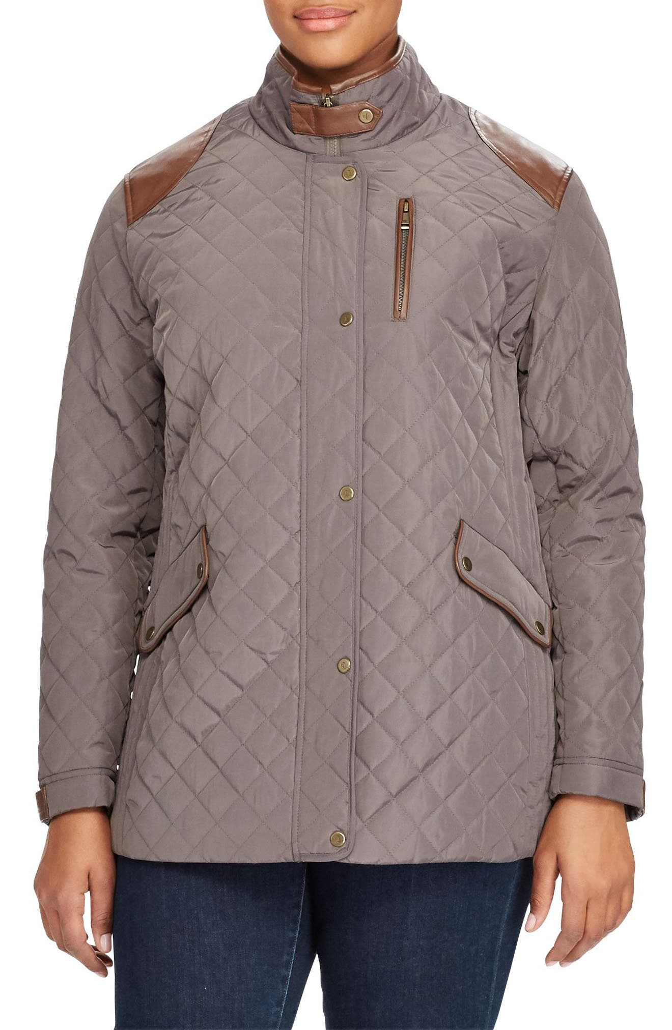 Lauren Ralph Lauren Quilted Jacket with Faux Leather Trim (Plus Size)
